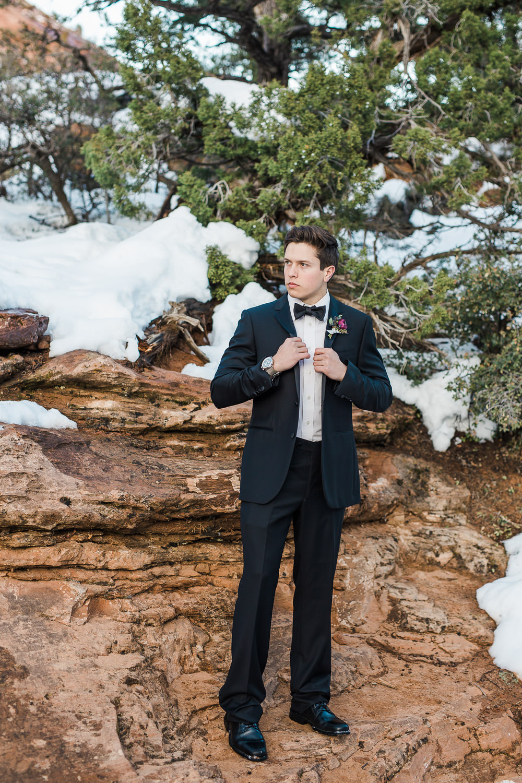 Local Utah custom tux for groom Provo Utah Zion National Park wedding