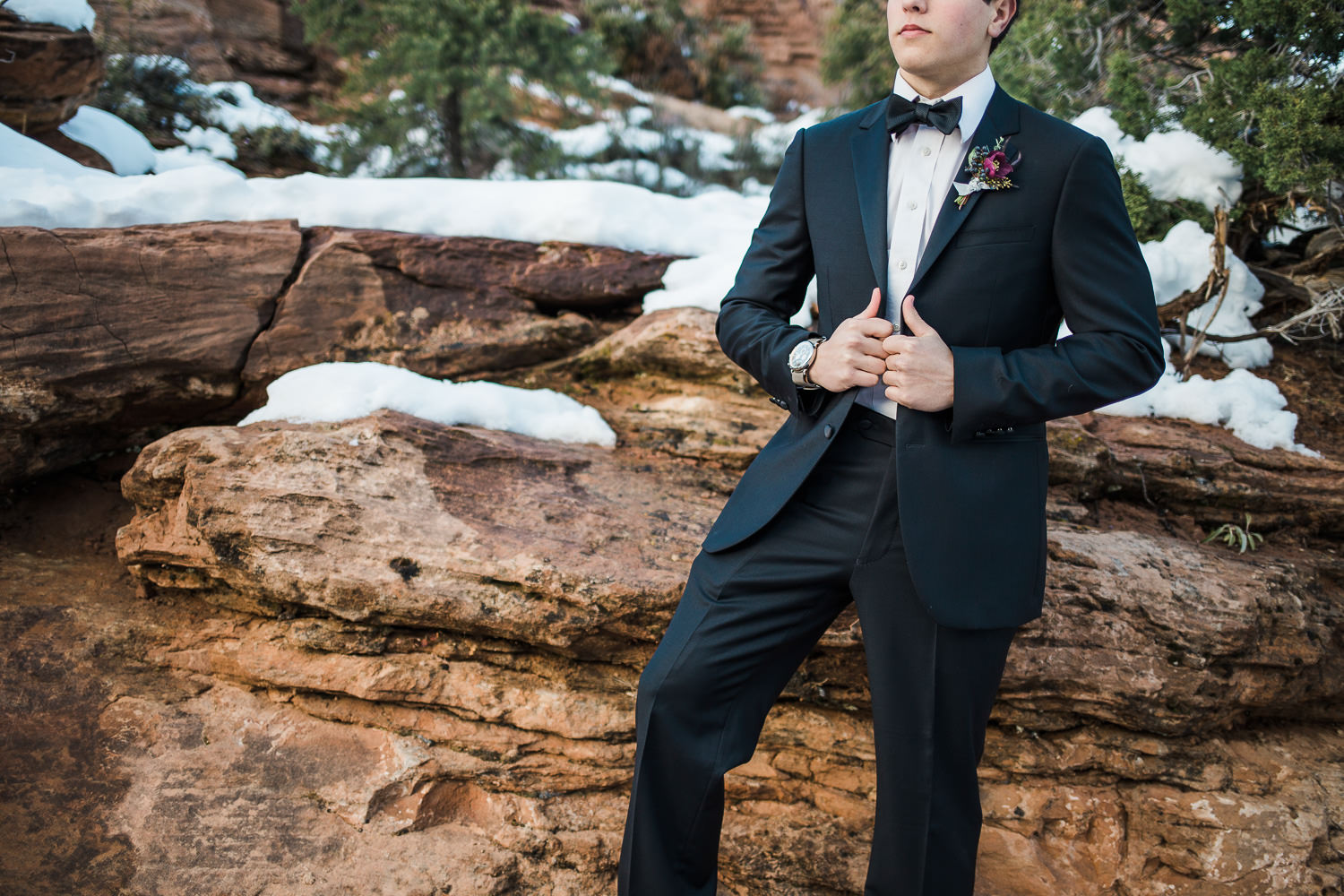 Custom tailored tuxedo by Perfectly Suited Zion National Park Utah
