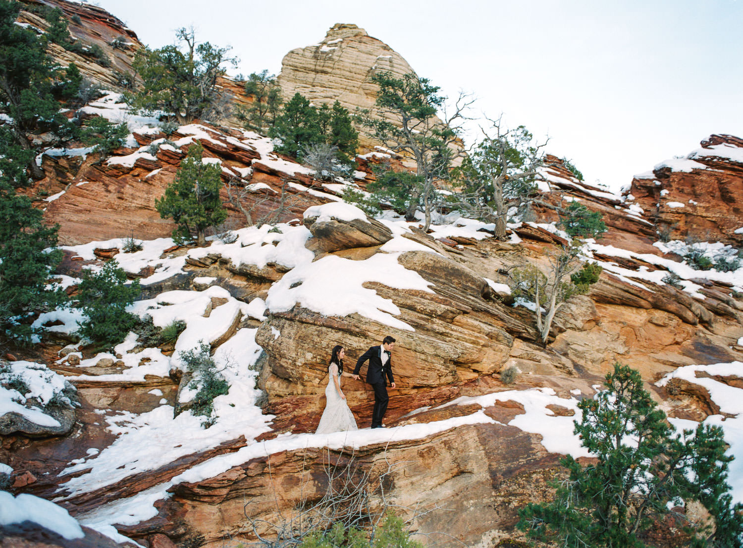 Canyon Overlook Trail Zion National Park real film elopement photographer Fuji 400h