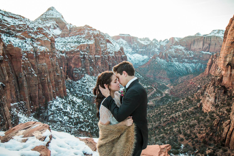 Canyon Overlook Zion National Park Epic bridals Utah wedding photographers