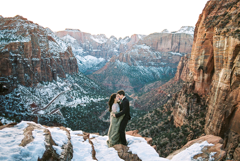 Iconic Zion National Park wedding fine art film wedding photographer