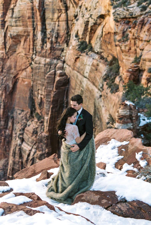 Zion National Park winter wedding photography Utah