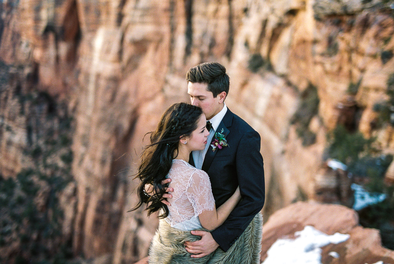 Zion National Park winter elopement film photographer Fuji 400h