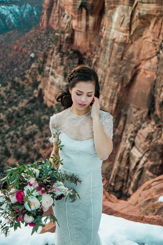 Beautiful bride Zion National Park wedding portrait