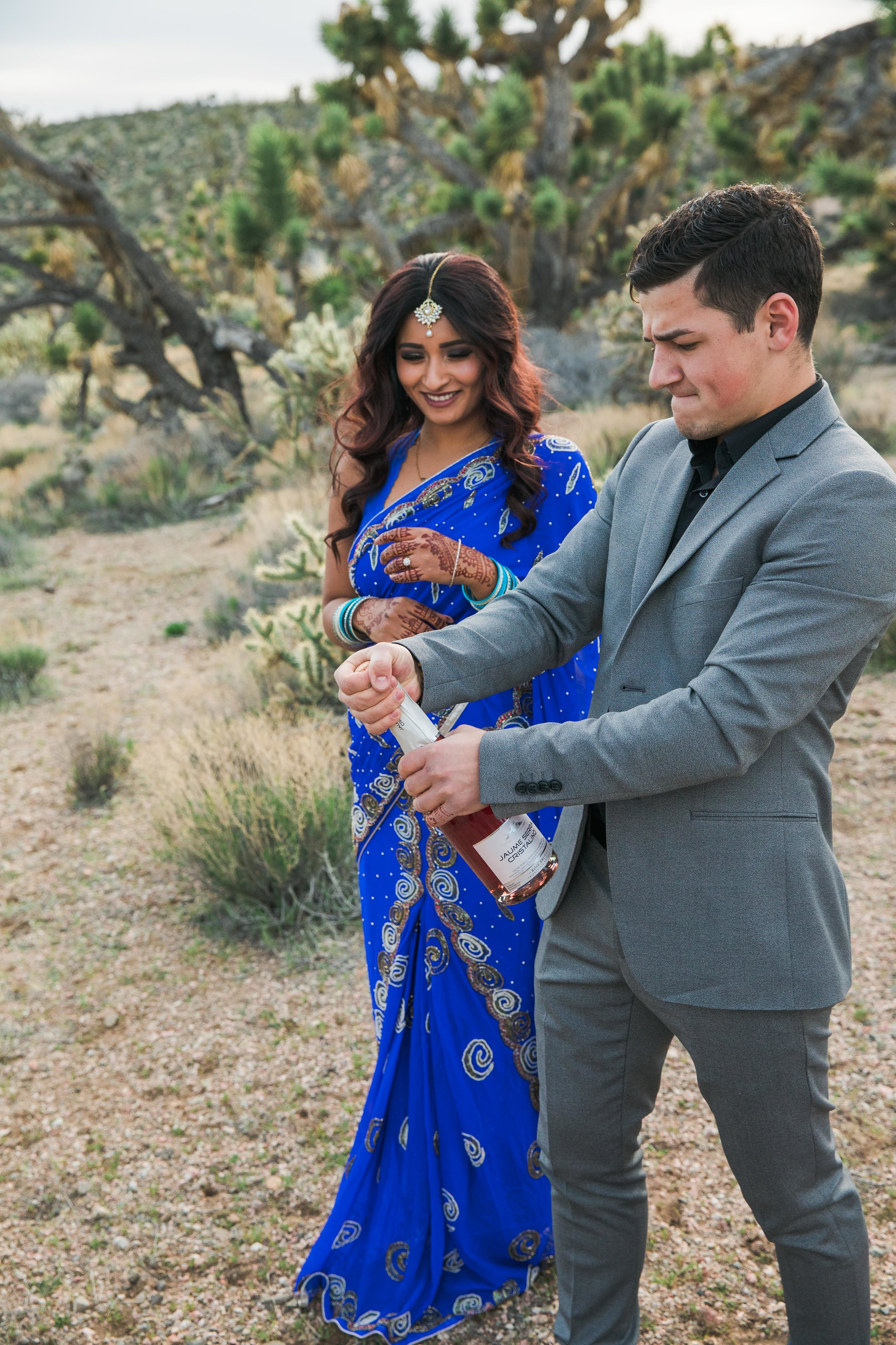 Champagne in the desert Joshua Tree Elopement Kyle Loves Tori Photography