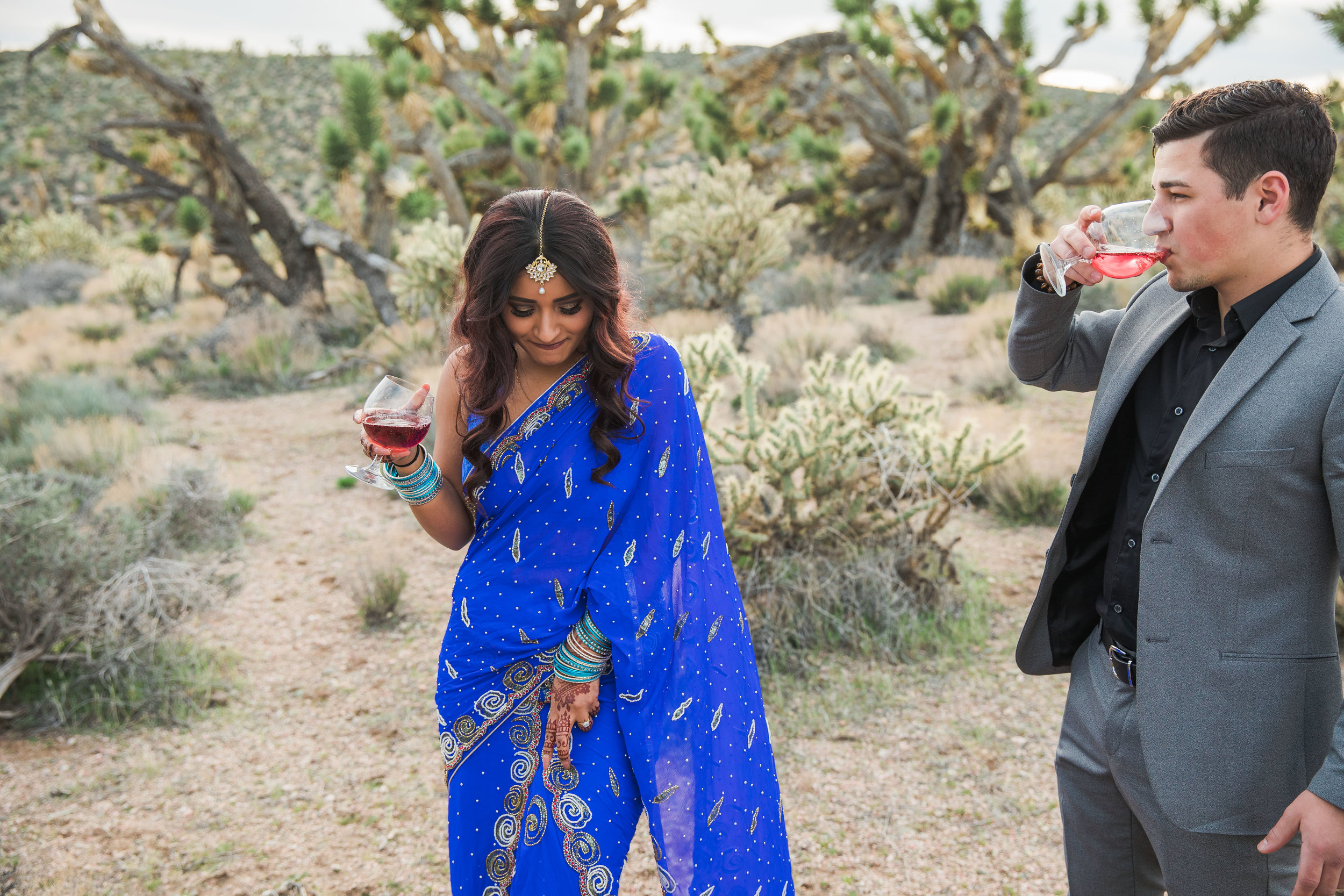 Elope in the desert celebrate with champagne Kyle Loves Tori Photography