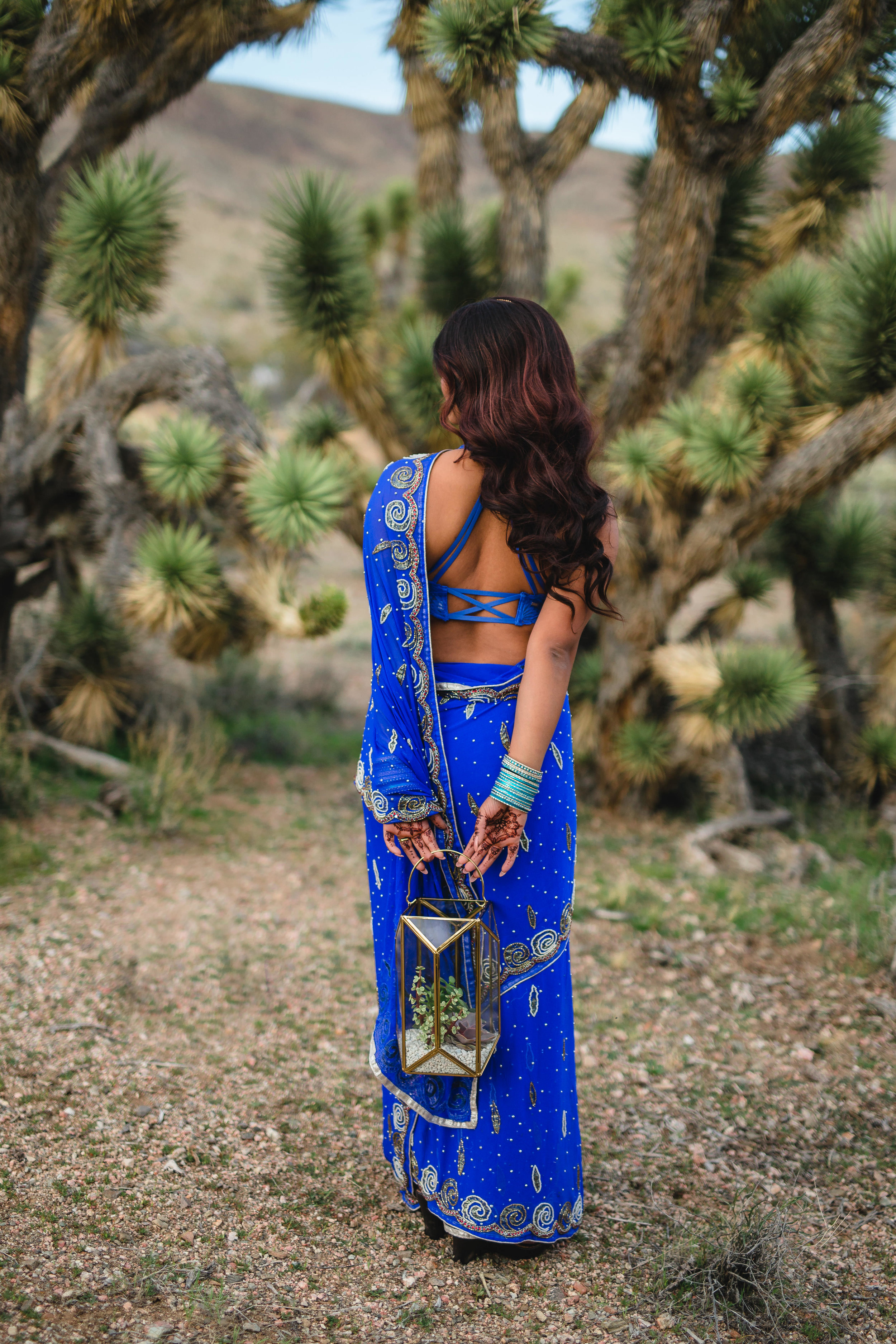 Gorgeous Indian bride in traditional saree dress elopes in the desert Kyle Loves Tori Photography