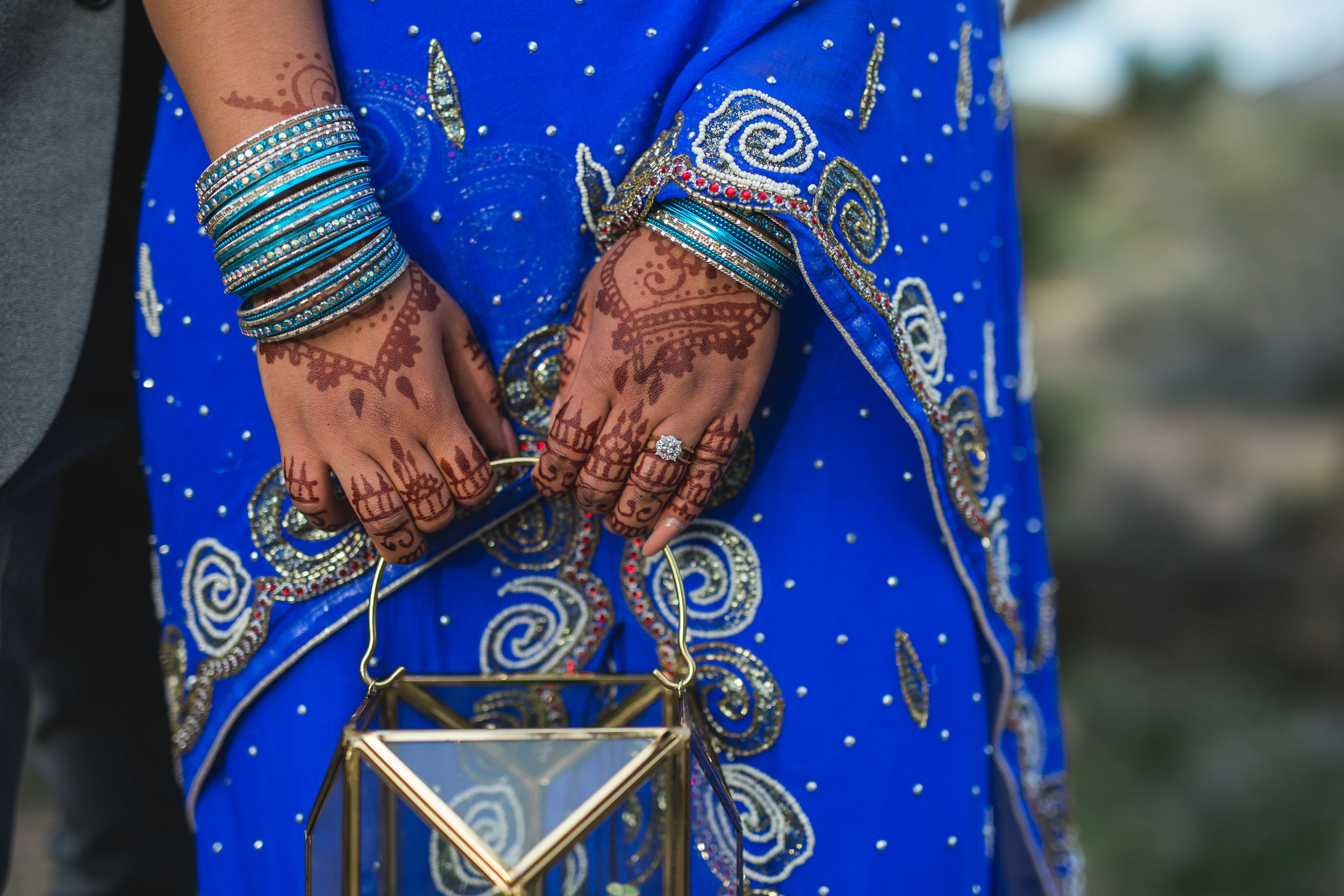 Indian bride with henna mehndi and traditional saree Kyle Loves Tori Photography
