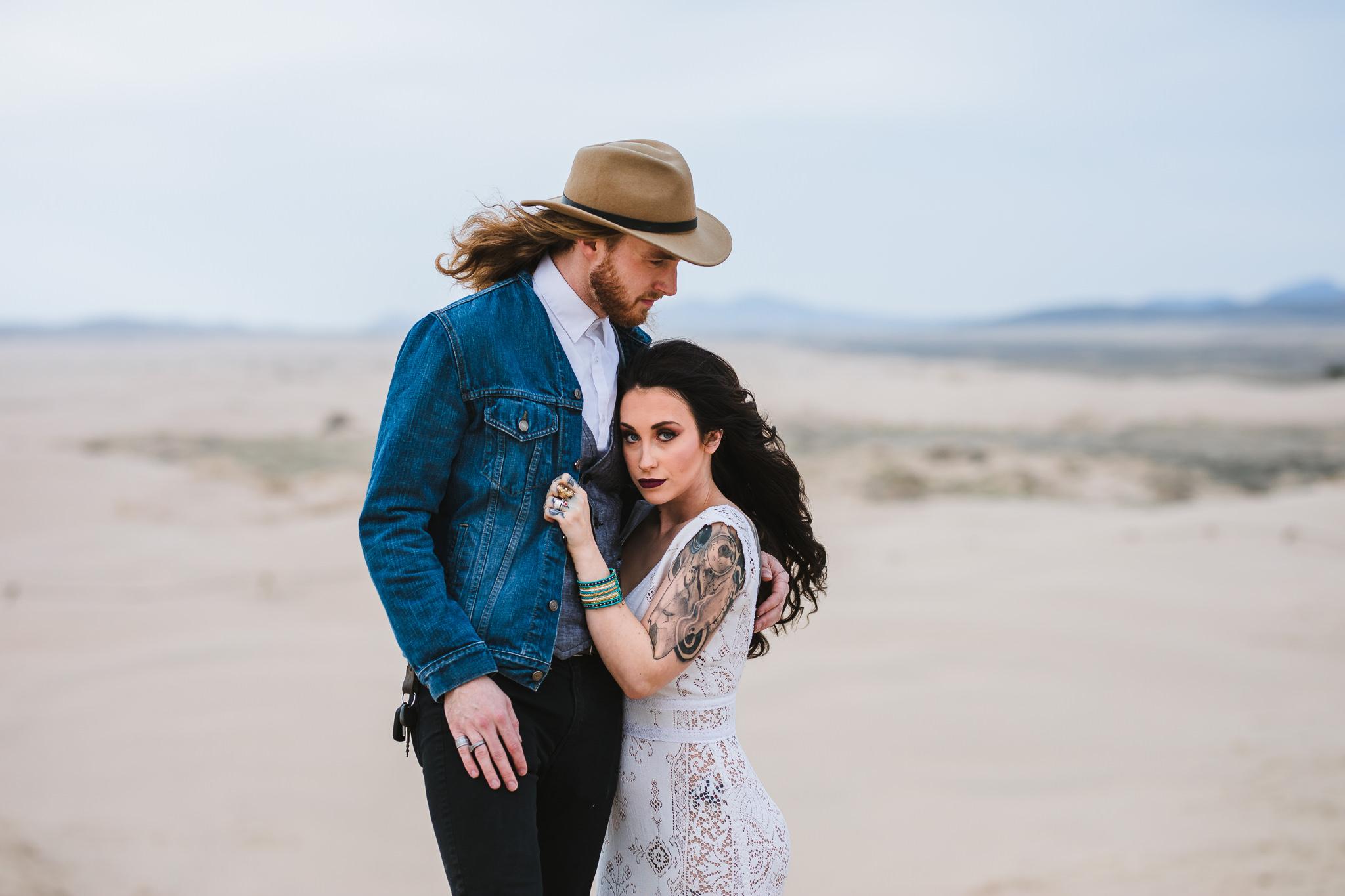 Bonnie and Clyde bride and groom Sand Dunes Eureka Utah