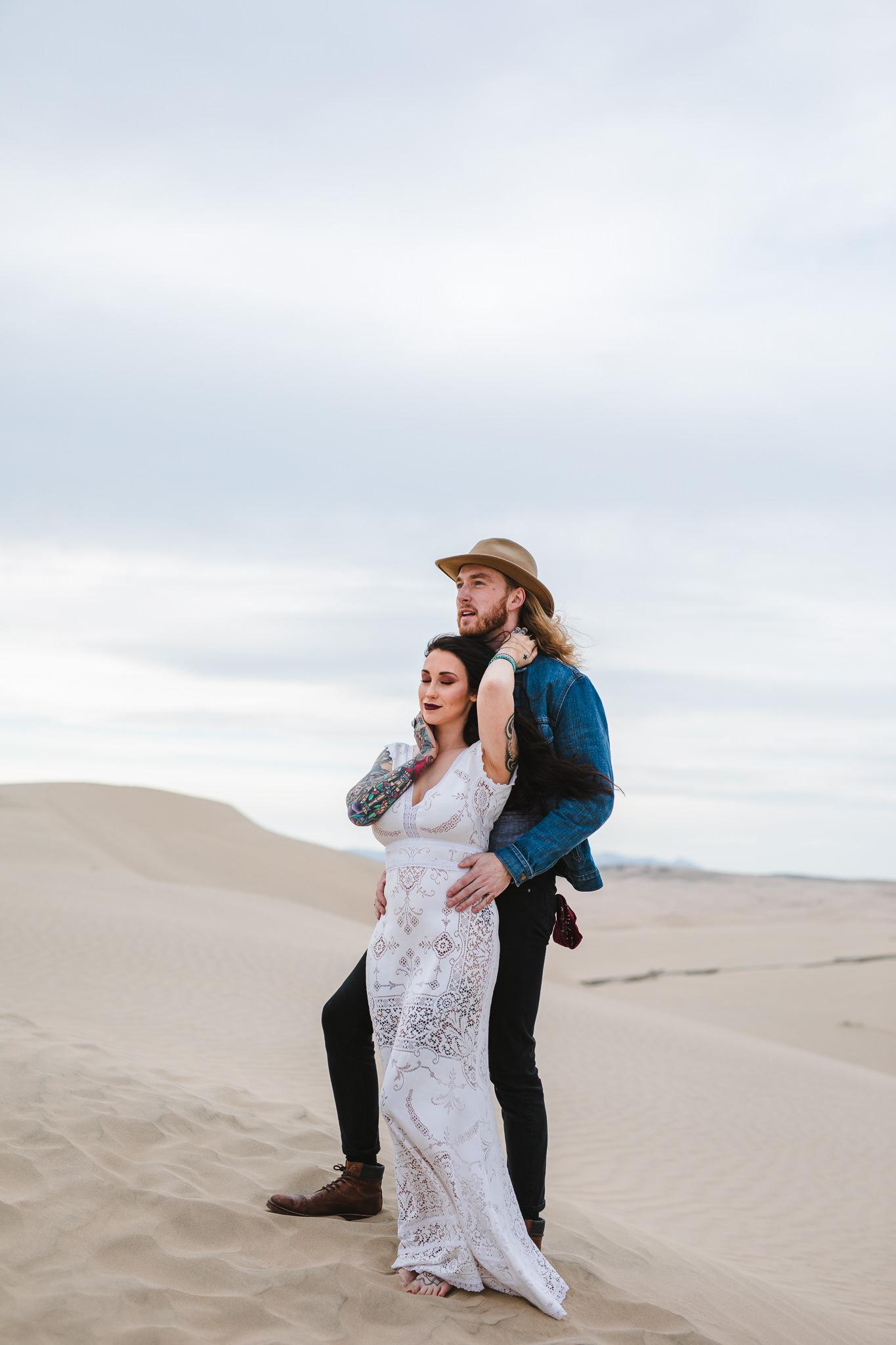 Adventure Elopement Photographers Little Sahara Sand Dunes Eureka Utah