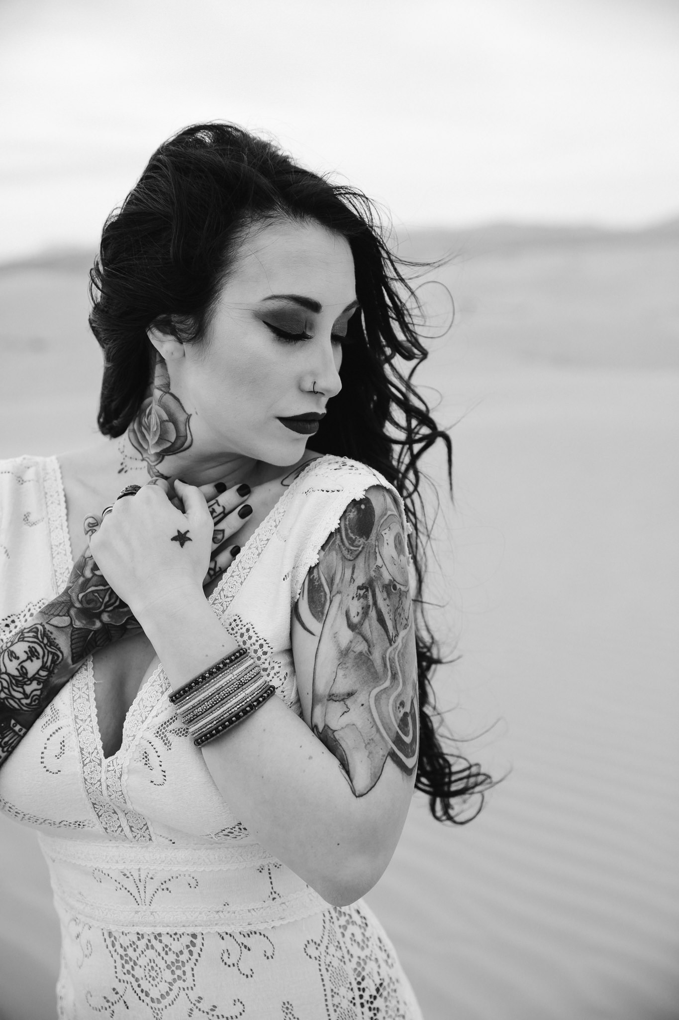 Elegant Tattooed Bride Desert Wedding Utah