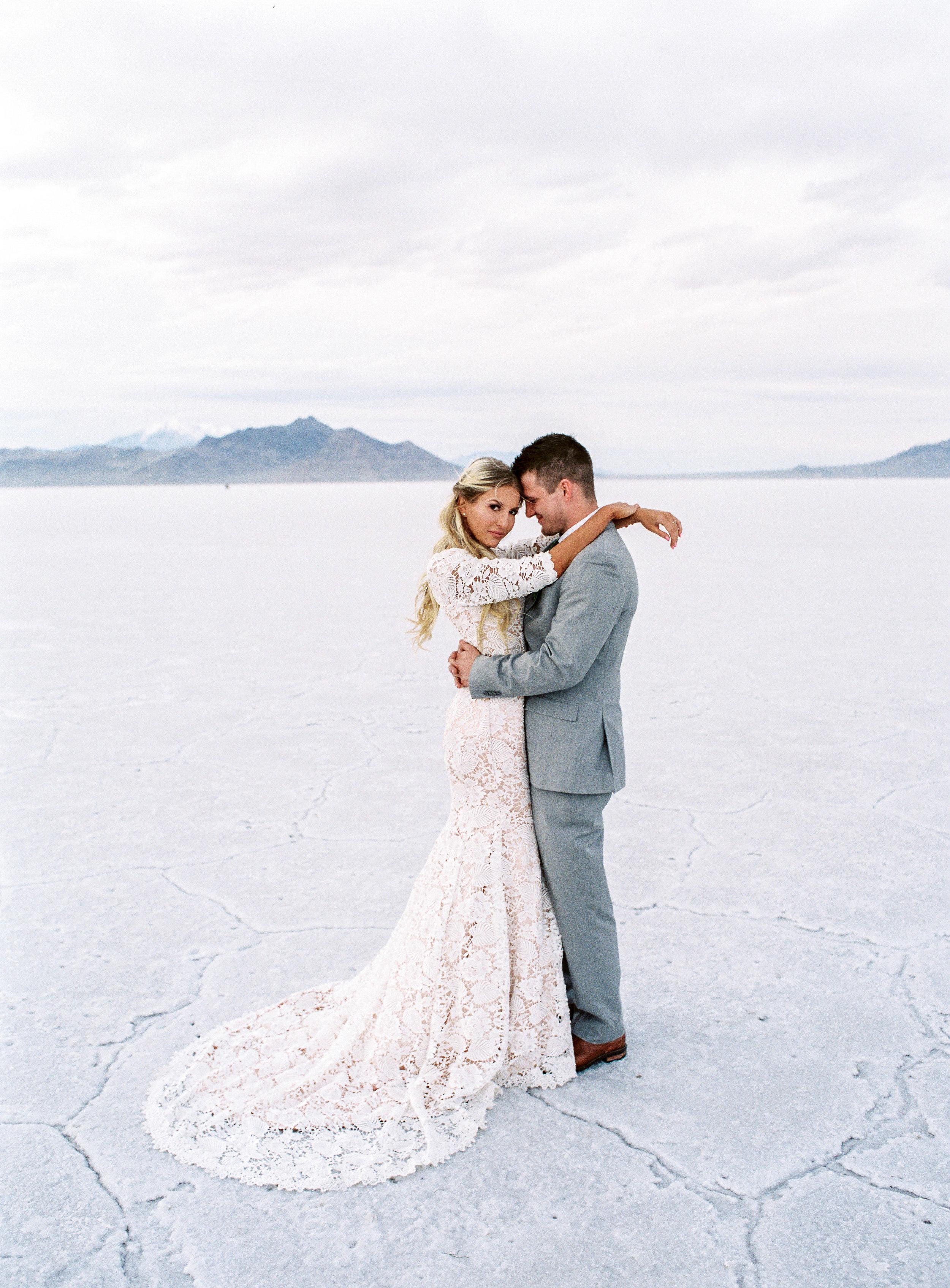 Fine art film wedding photographer bonneville salt flats utah wedding