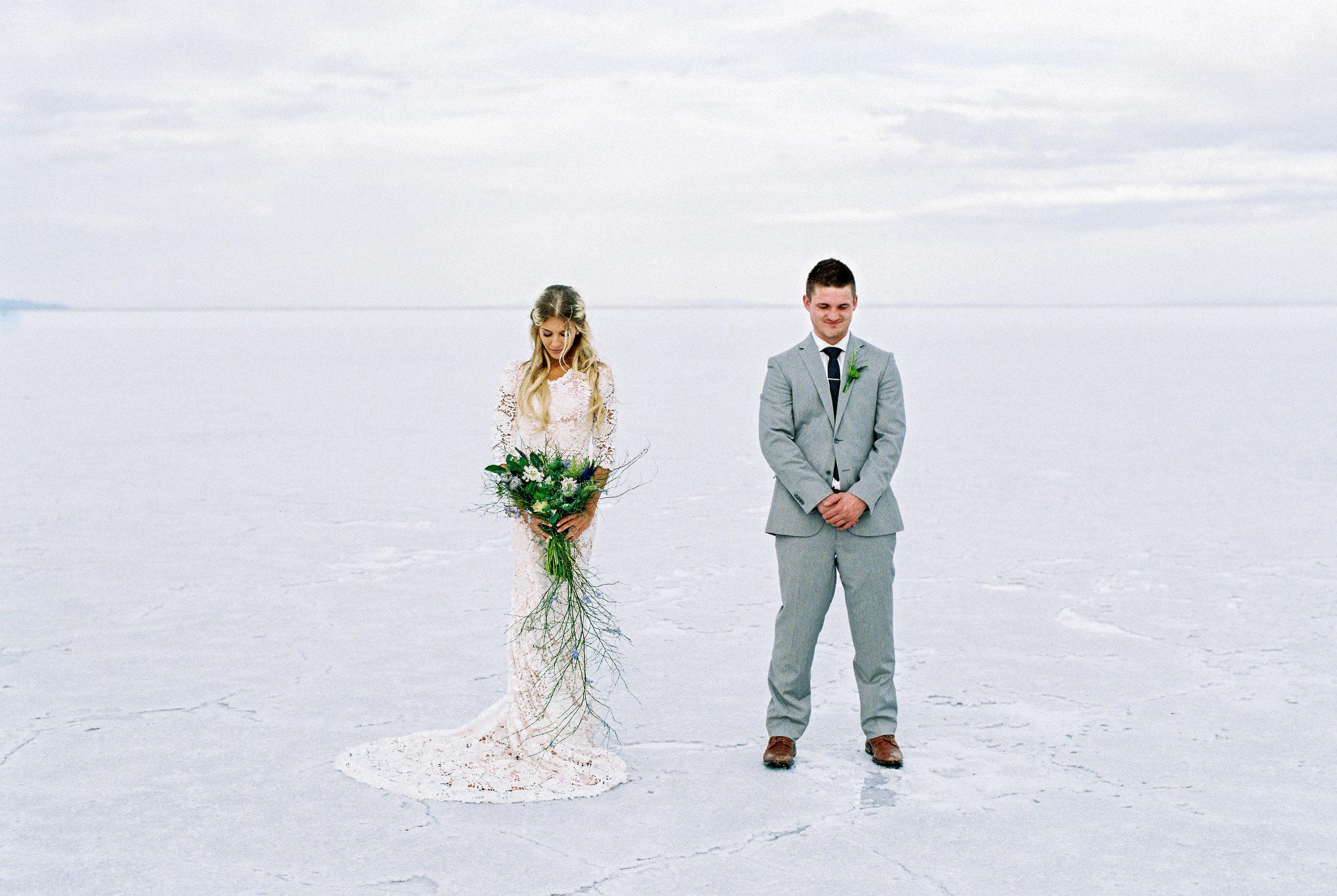 Film wedding photography Salt Flats Utah wedding locations