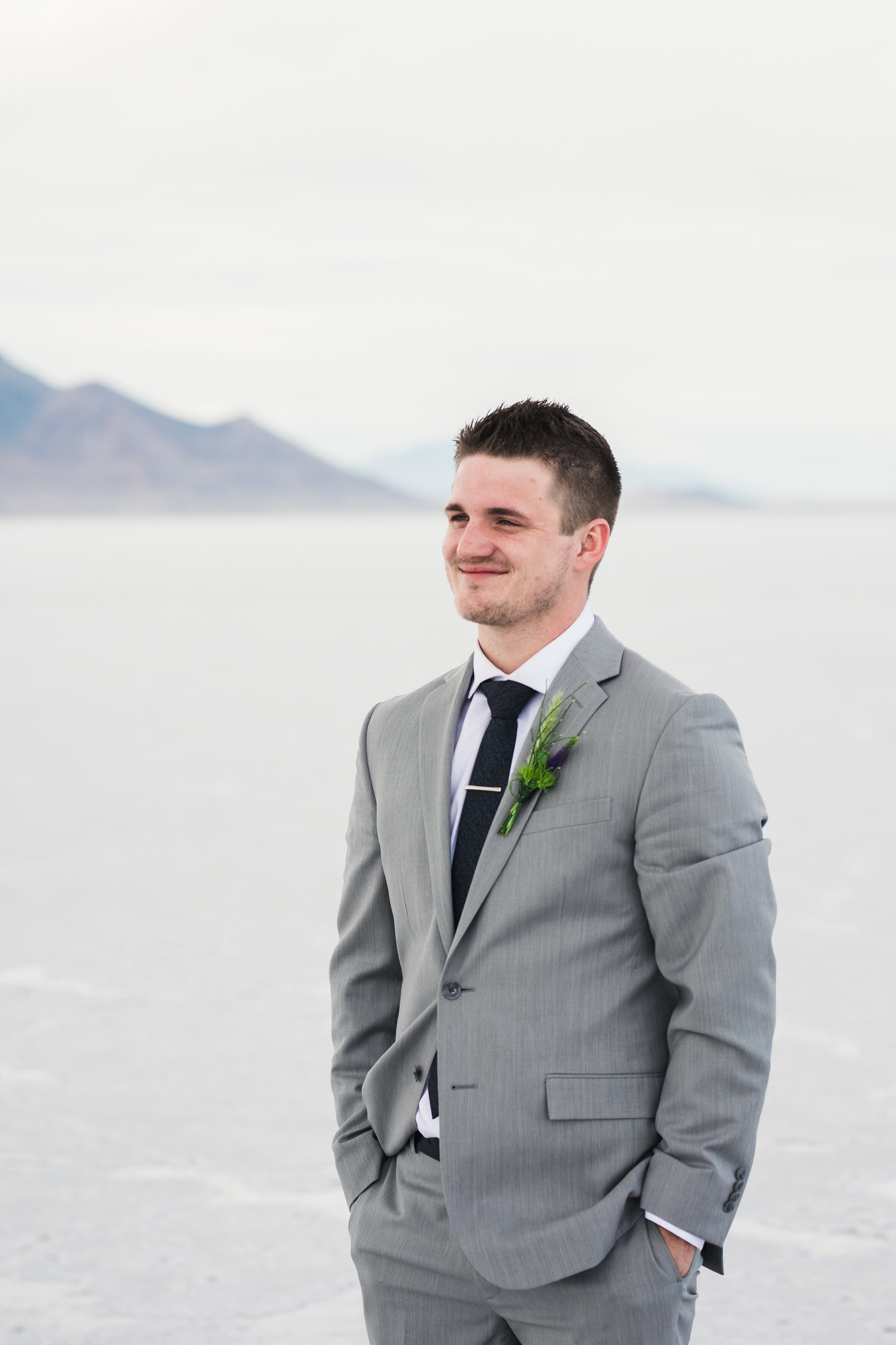 Bonneville Salt Flats groom l floral studio boutonniere SLC Utah wedding