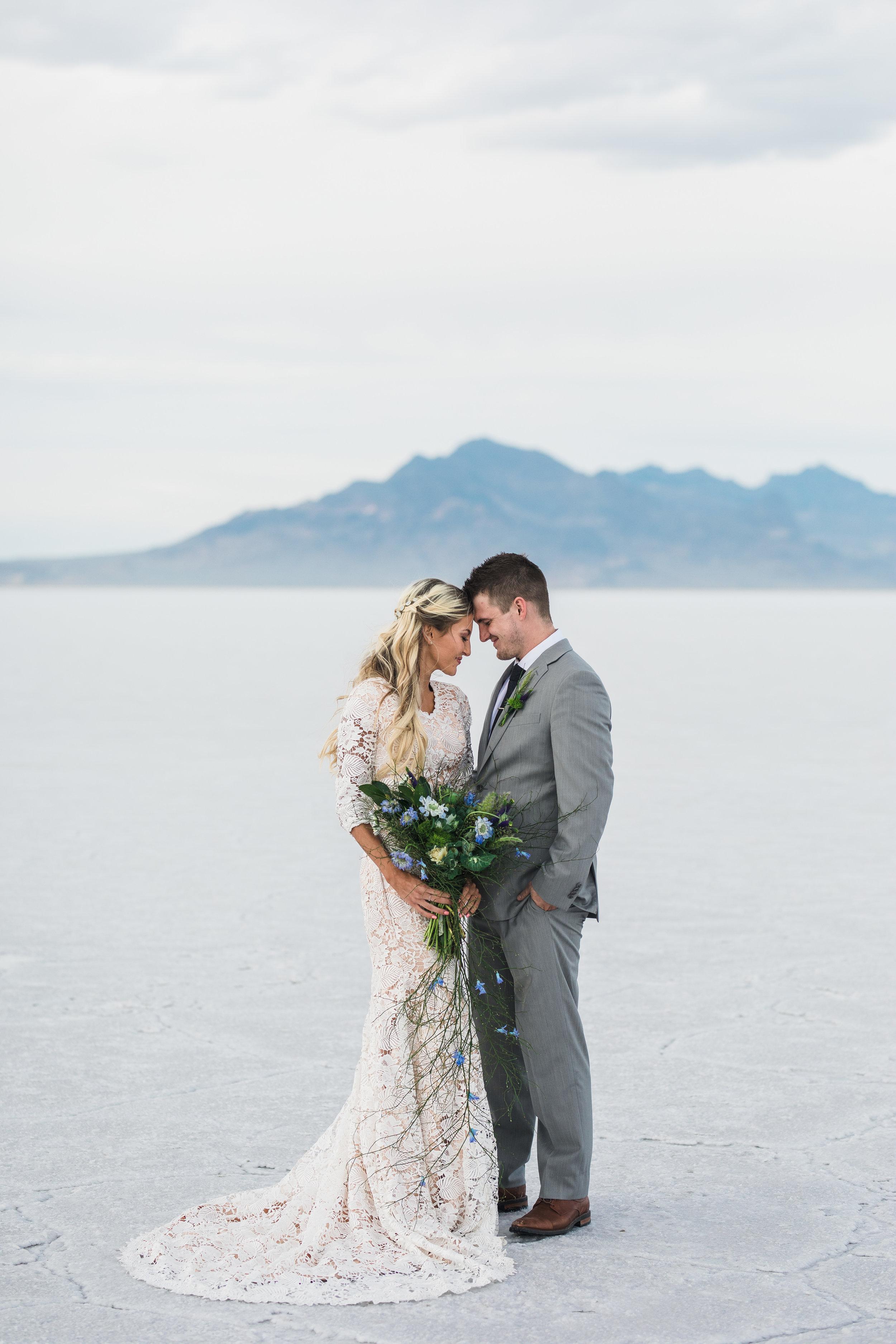 Elizabeth Cooper Design modest wedding dress L floral studio bouquet Utah salt flats bridals