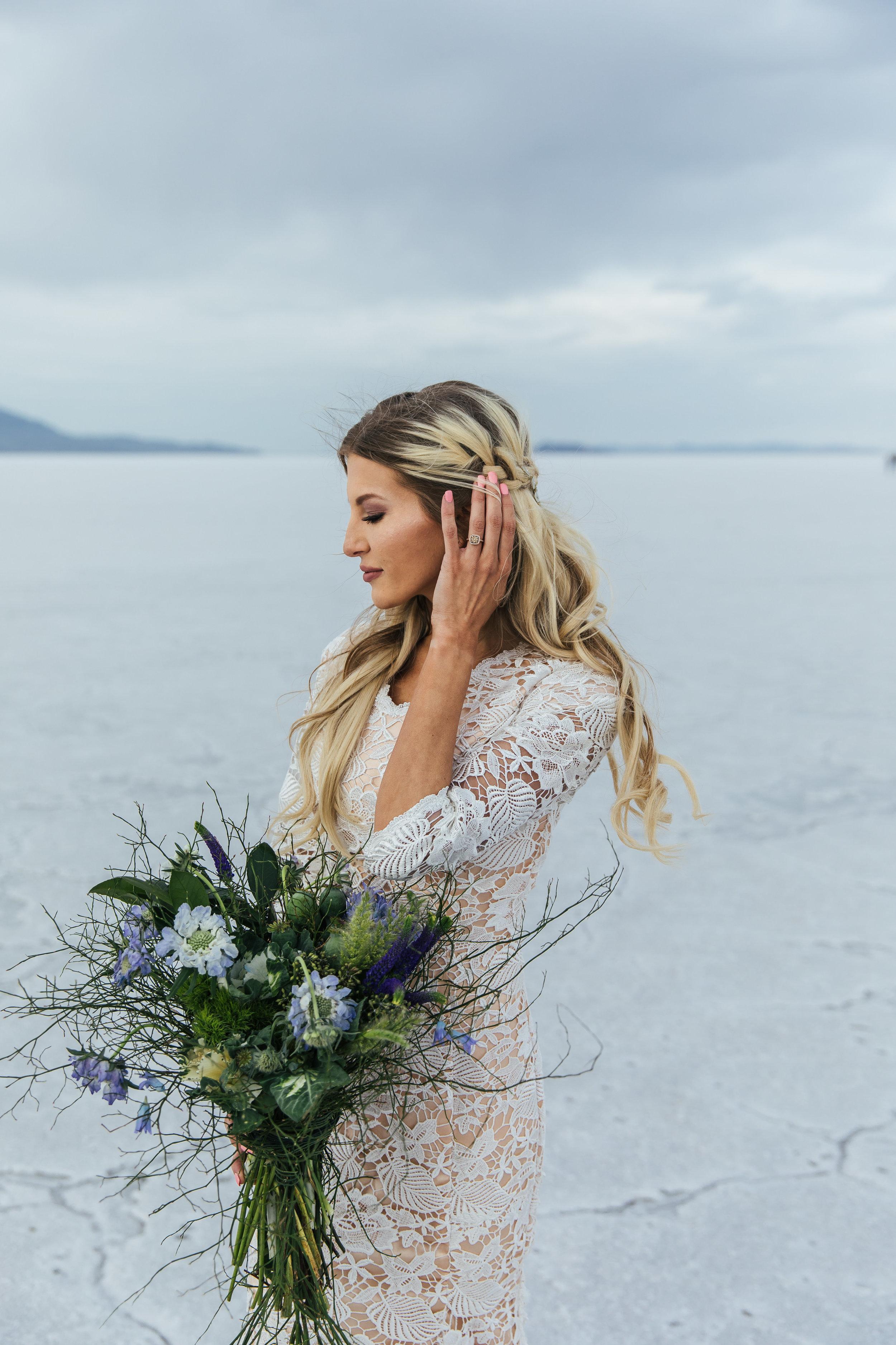 Bridal hair by Hailey Boam L Floral Studio Bouquet Elizabeth Cooper Design Dress Bonneville Salt Flats Bridals