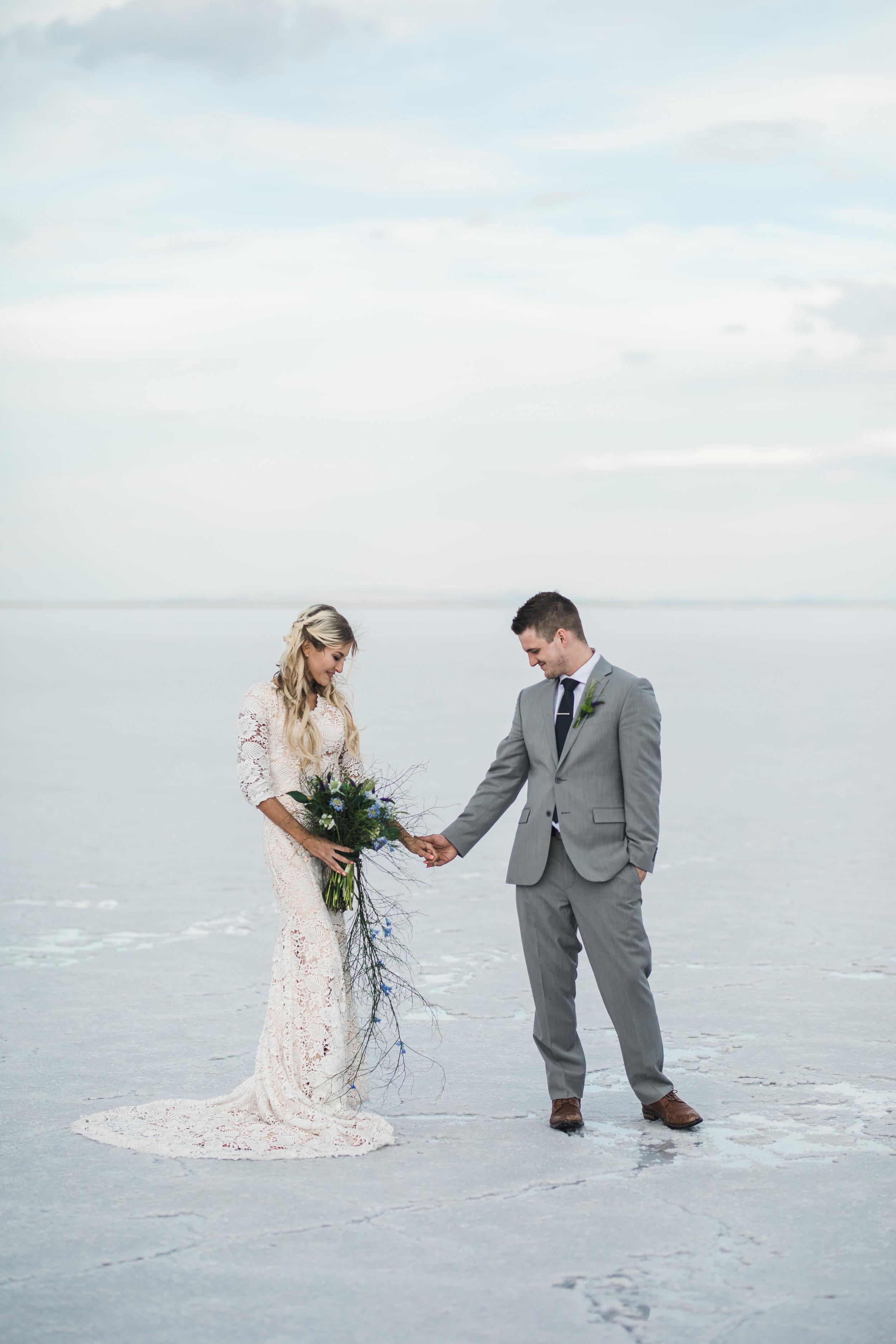 Utah adventure wedding photographers Bonneville Salt Flats