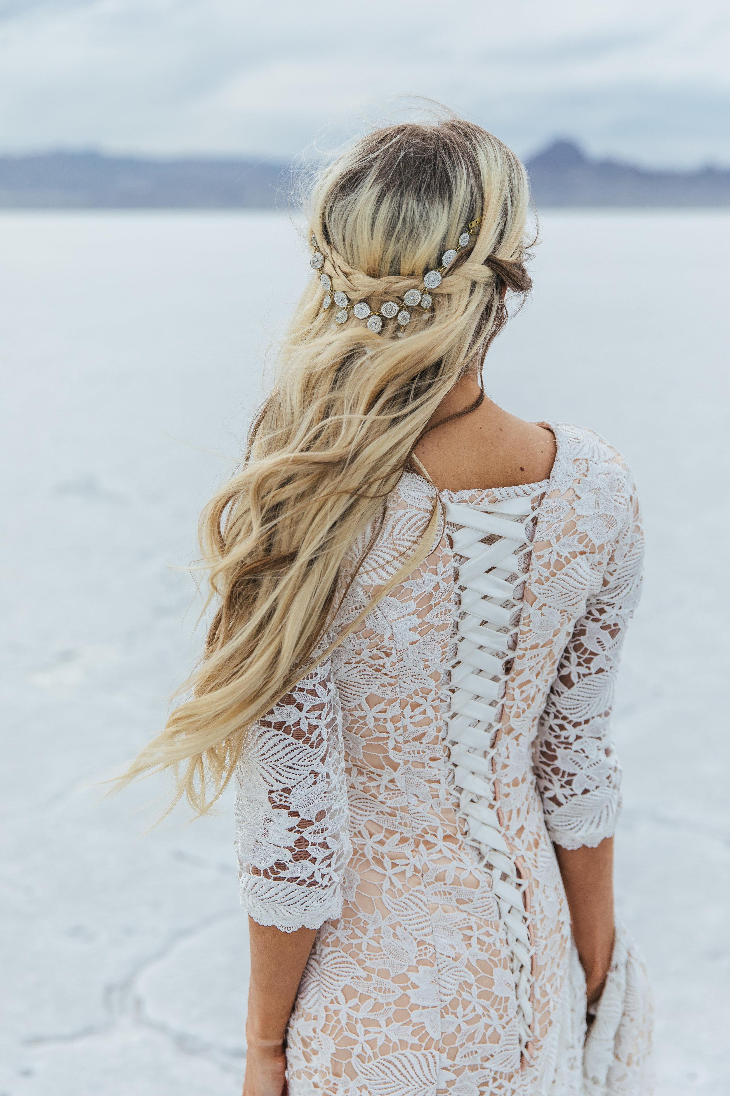 Bridal Hair by Hailey Boam Danani Handmade headpiece Utah adventure portraits