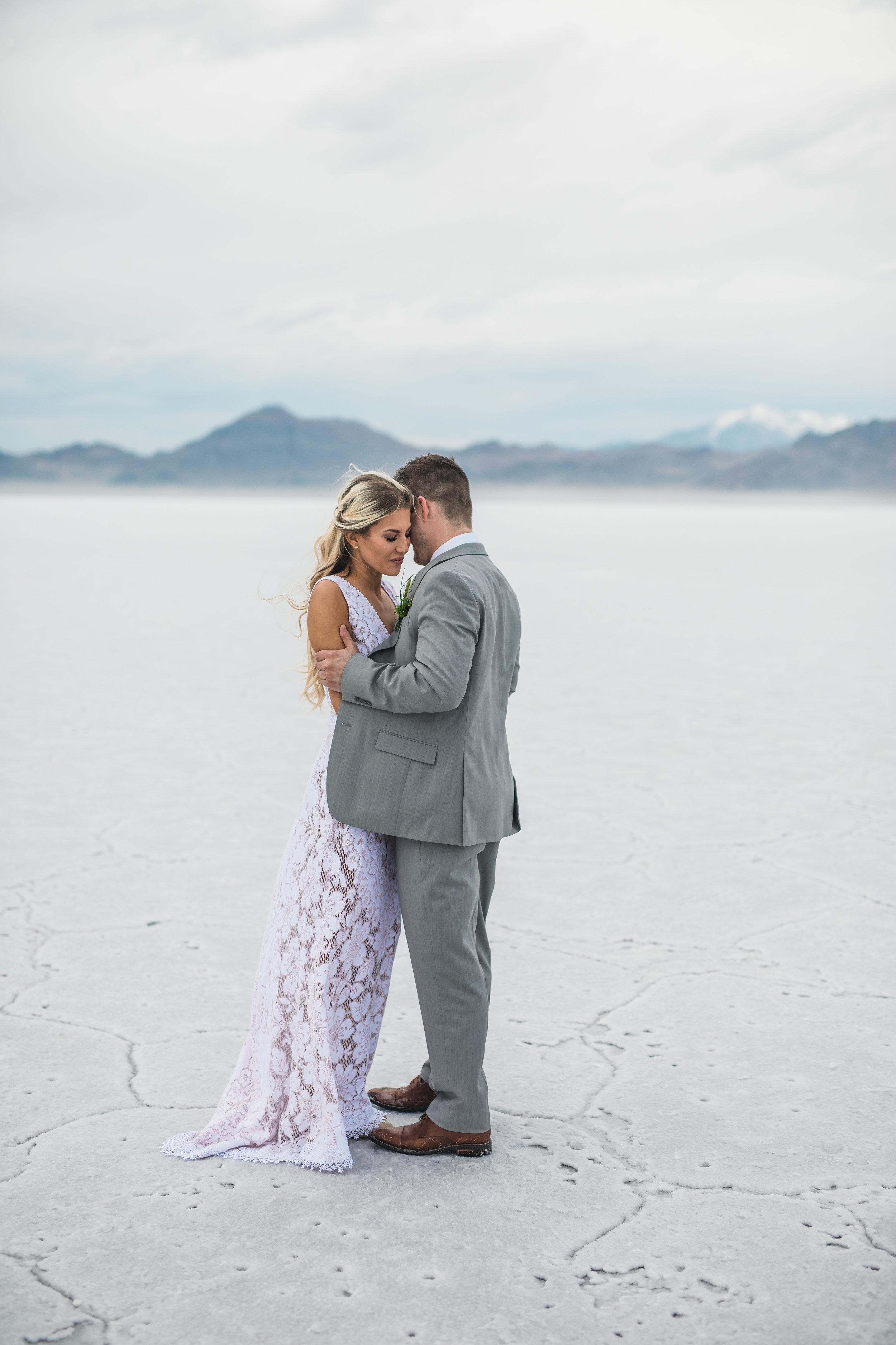 Saldana vintage wedding dress adventure wedding photography Bonneville Salt Flats