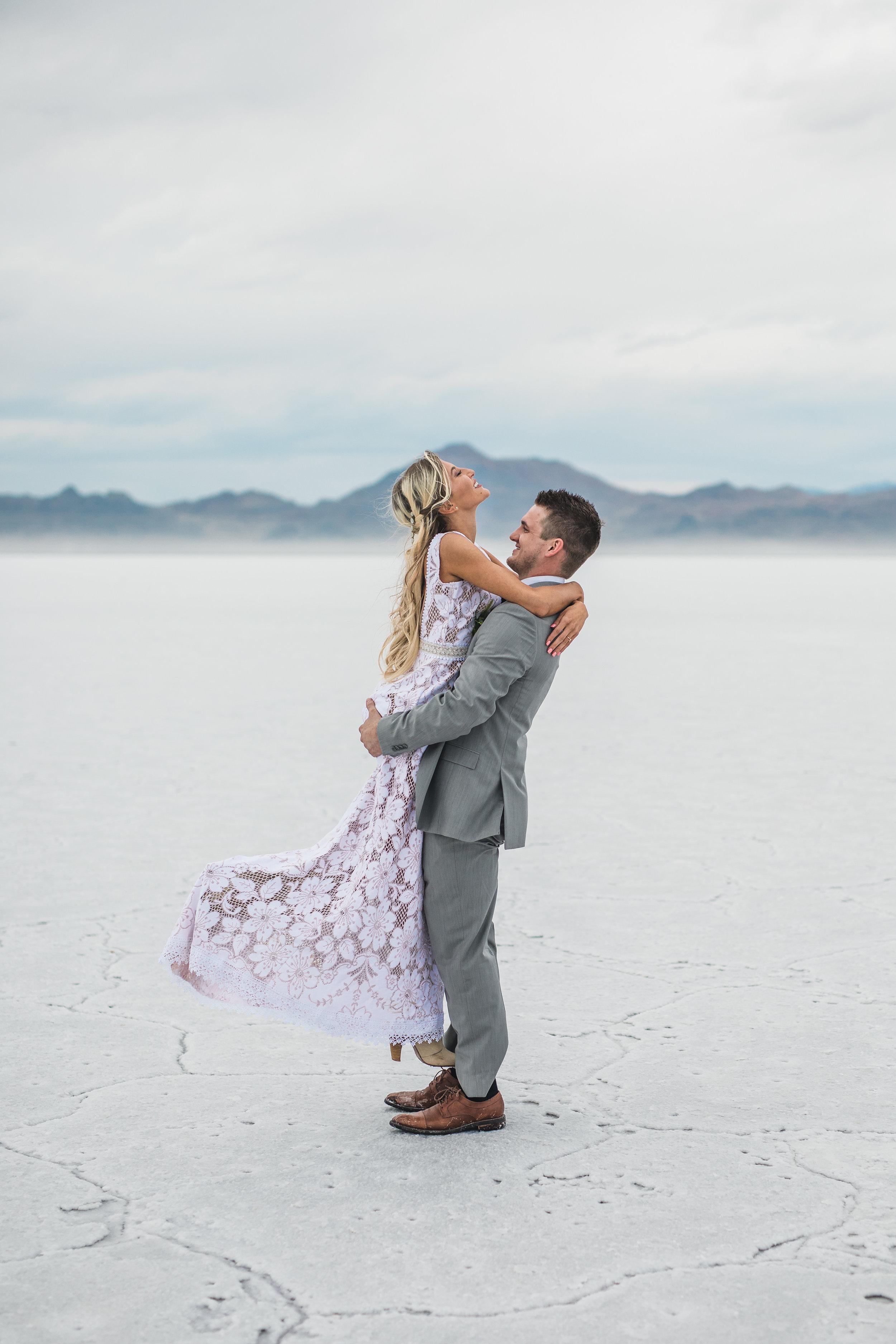 Bonneville Salt Flats adventure elopement Utah wedding photographers