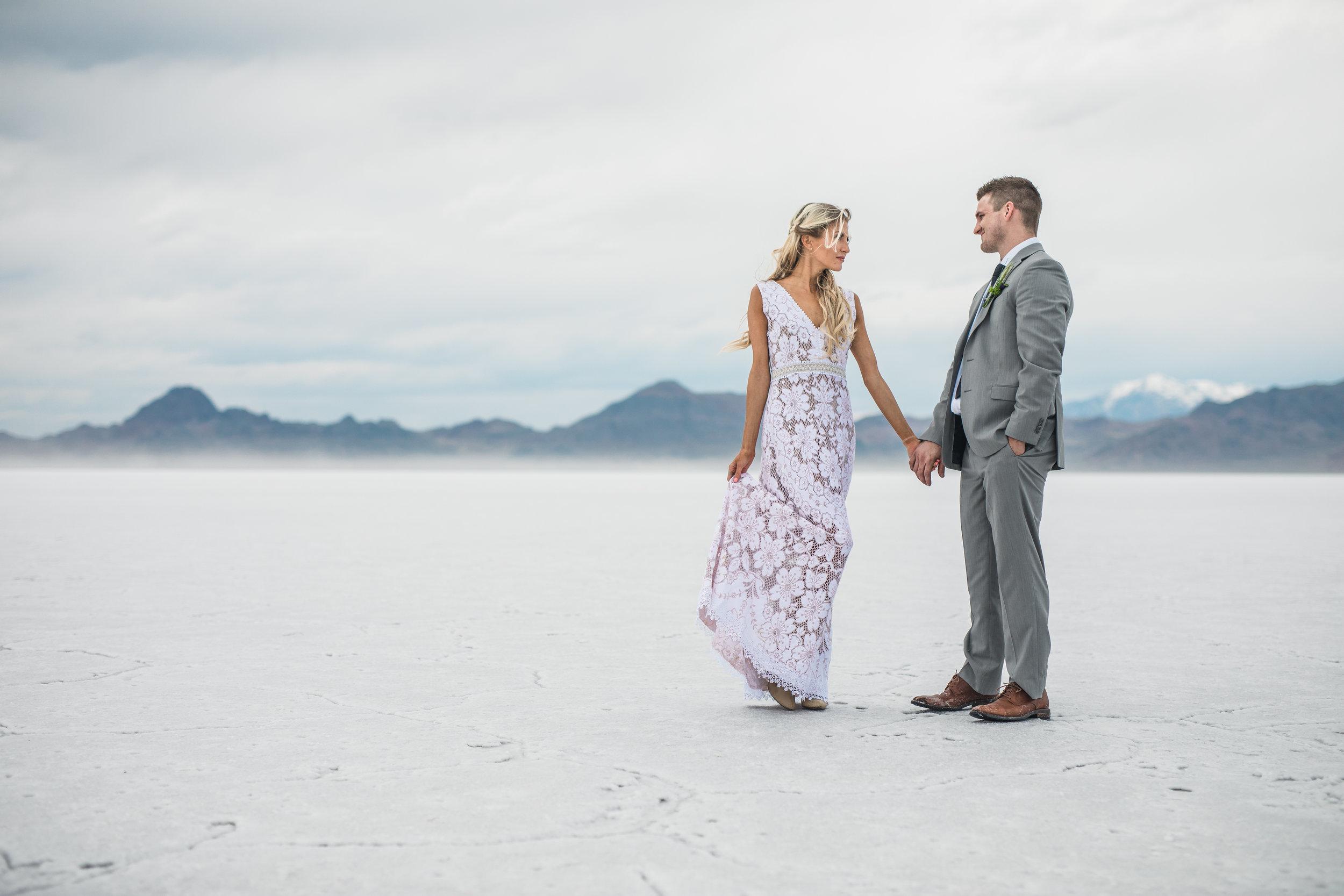 Bonneville Salt Flats adventure wedding photography