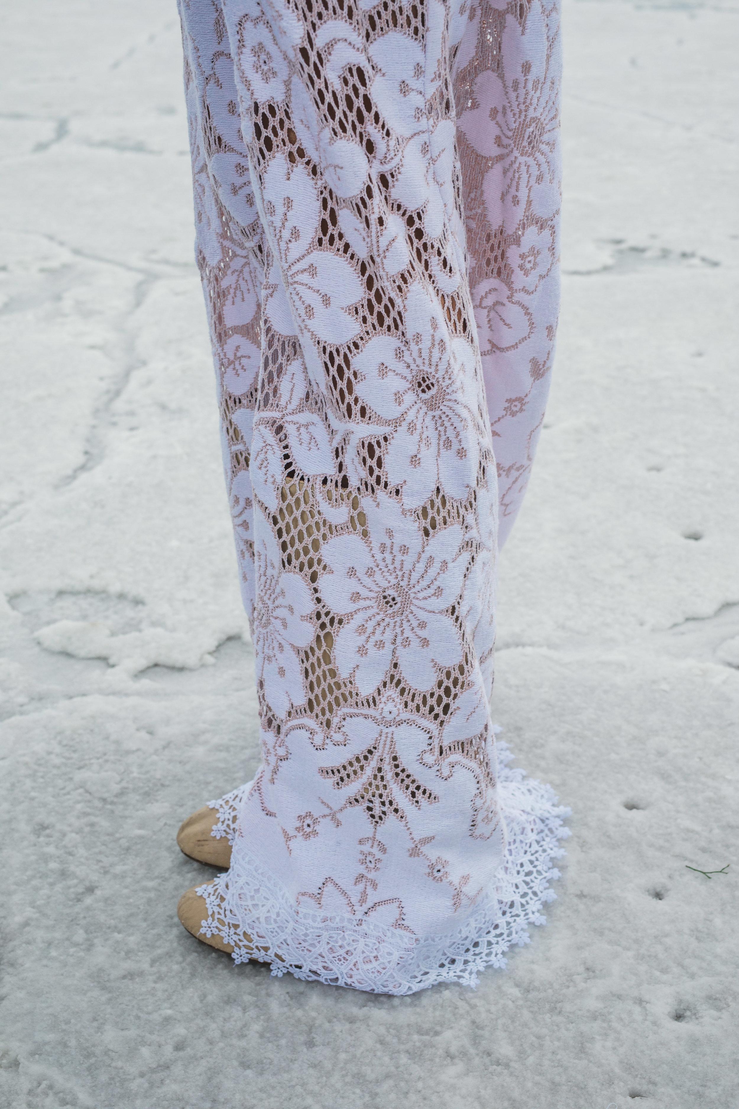 Saldana Vintage unlined rose dress detail Bonneville Salt Flats