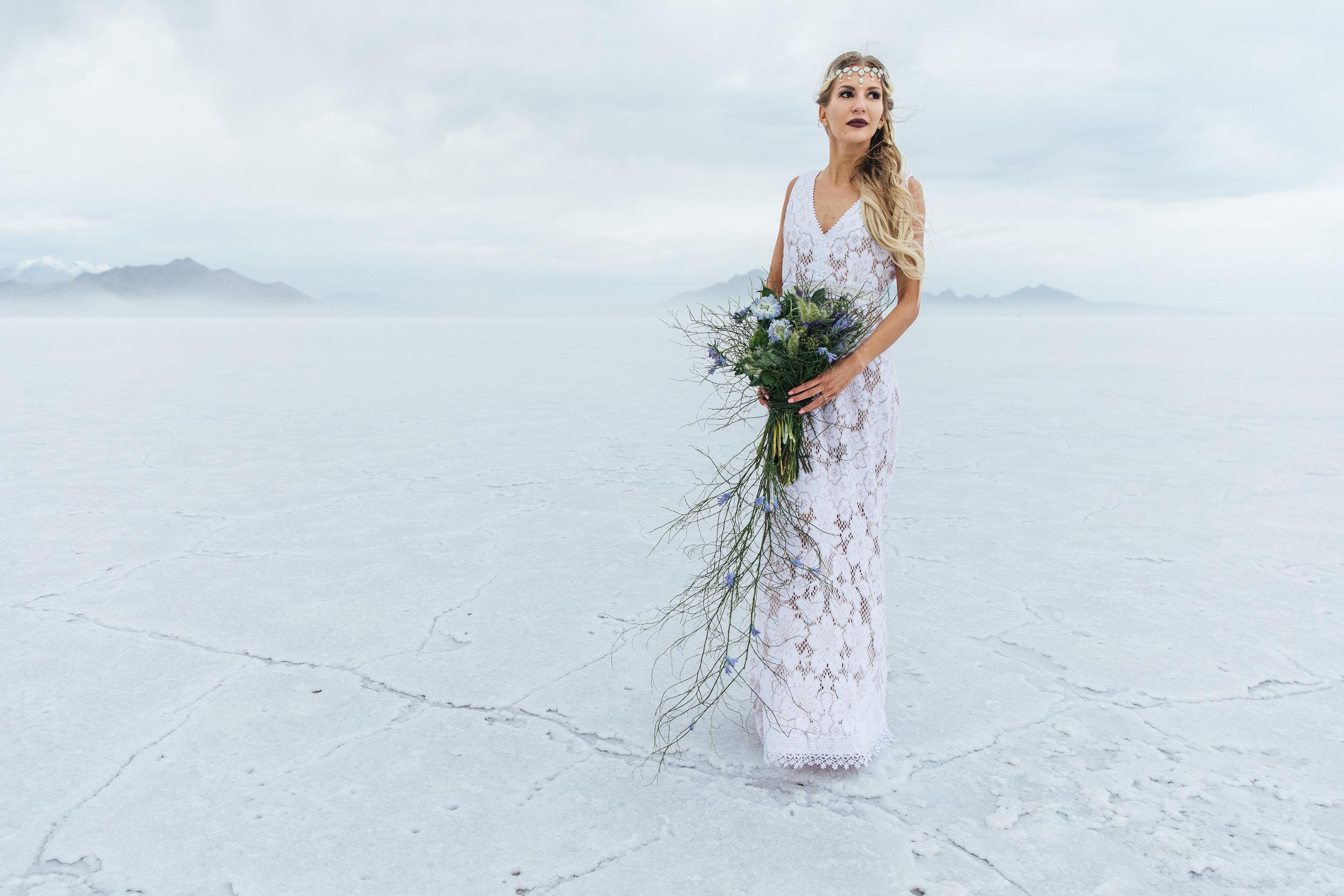 Epic adventure bridal portrait Bonneville Salt Flats Utah