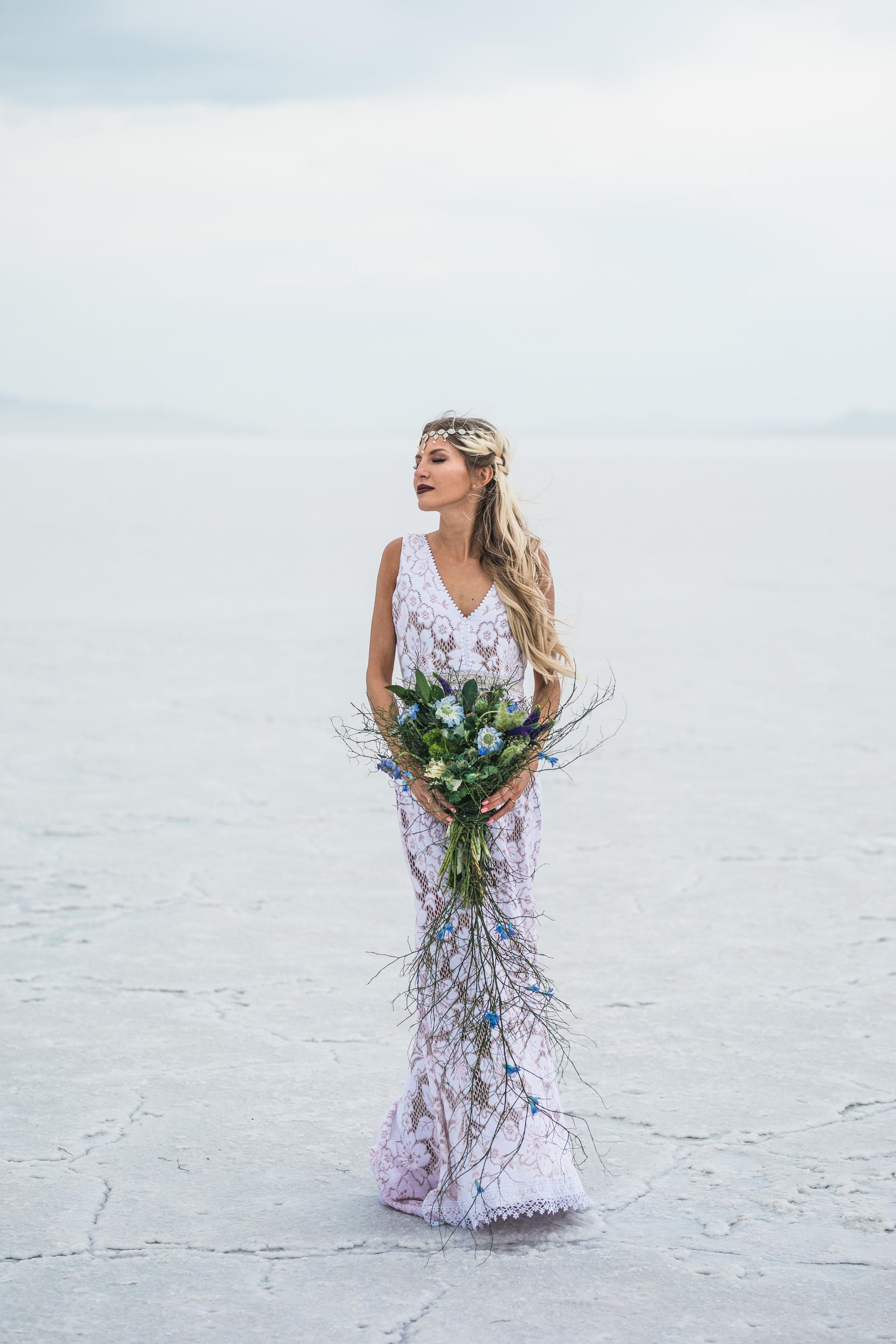 Gorgeous bride portrait Bonneville Salt Flats vintage wedding dress