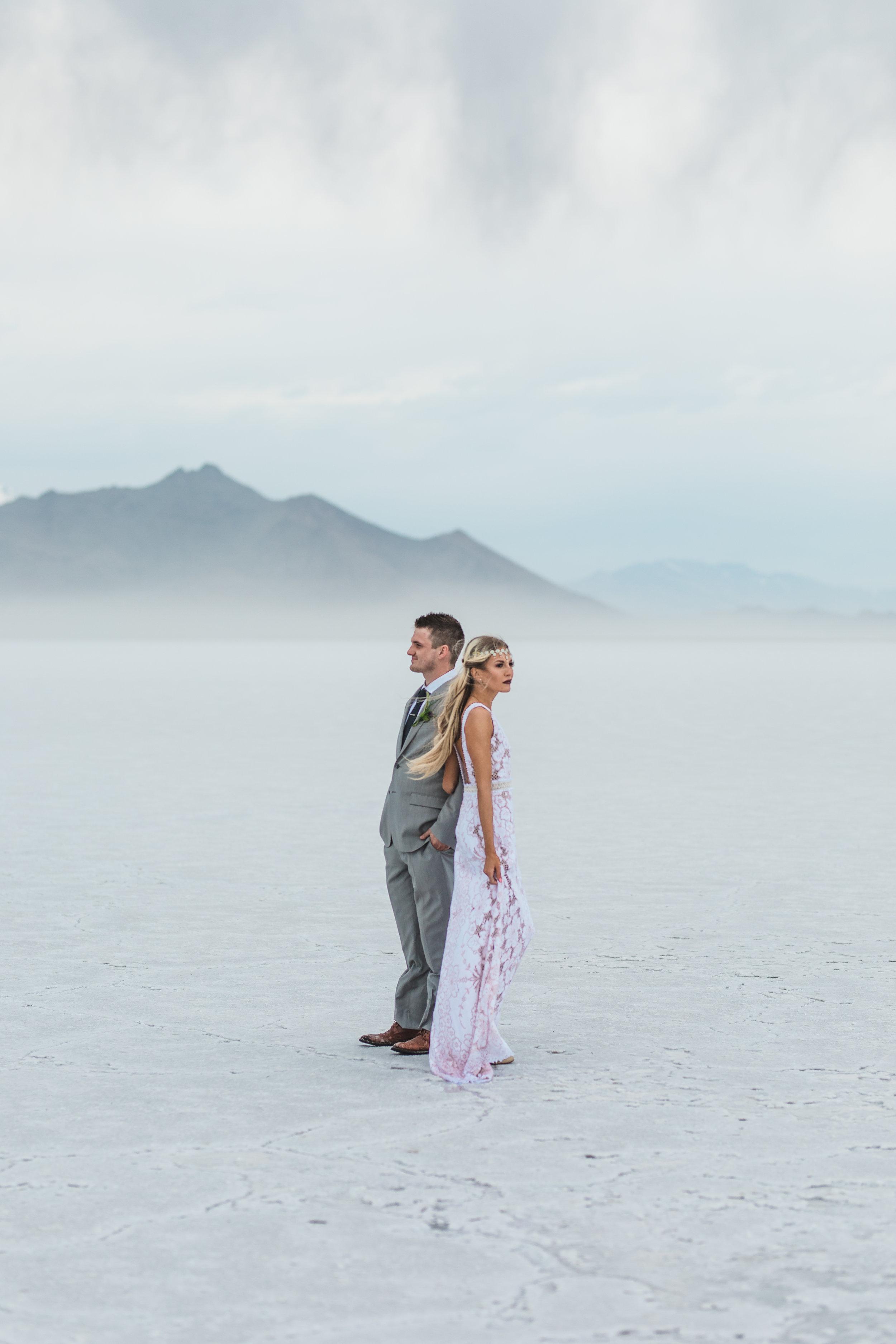 Utah destination elopement photographers Bonneville Salt Flats