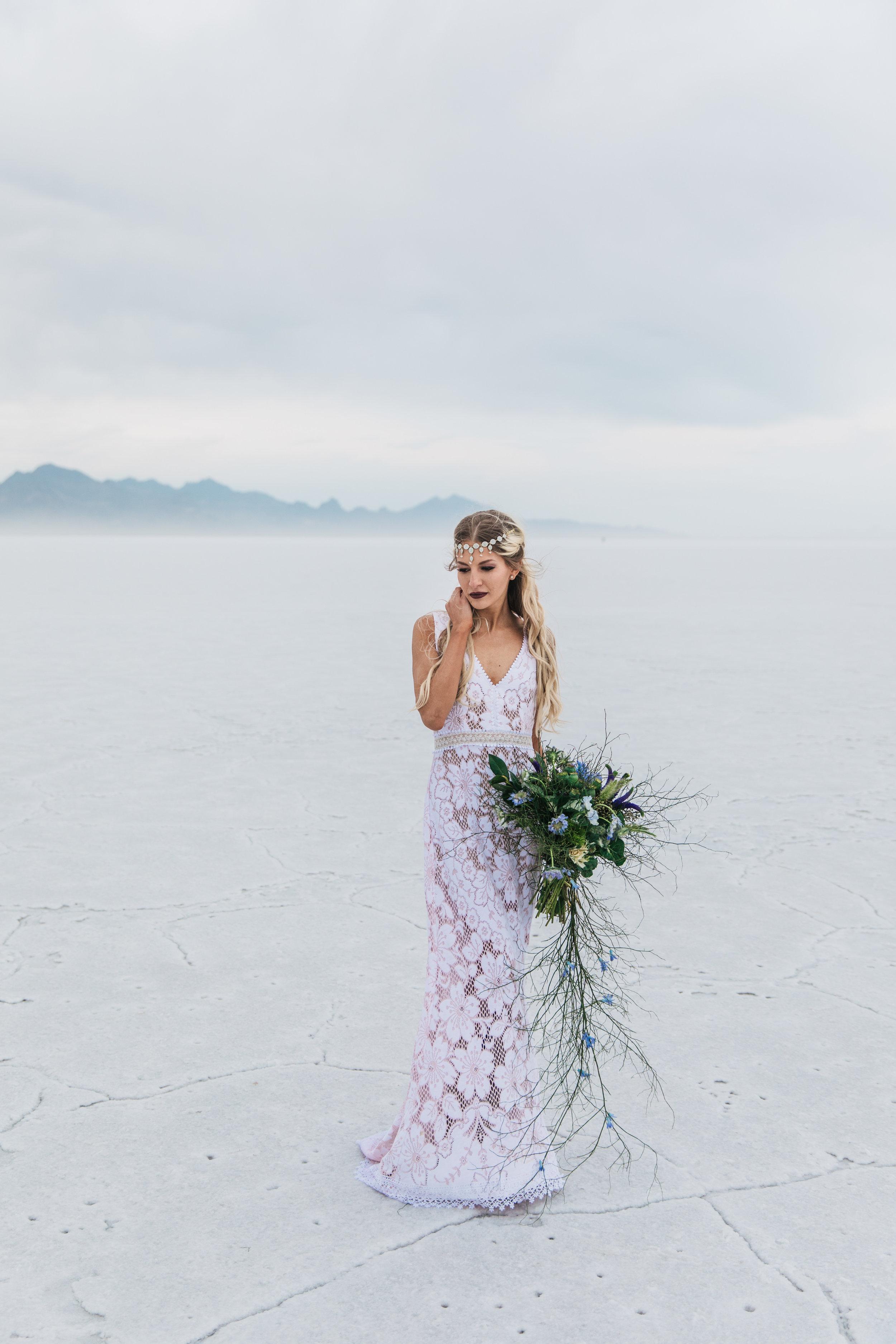 Utah Adventure Bridal Portraits Bonneville Salt Flats