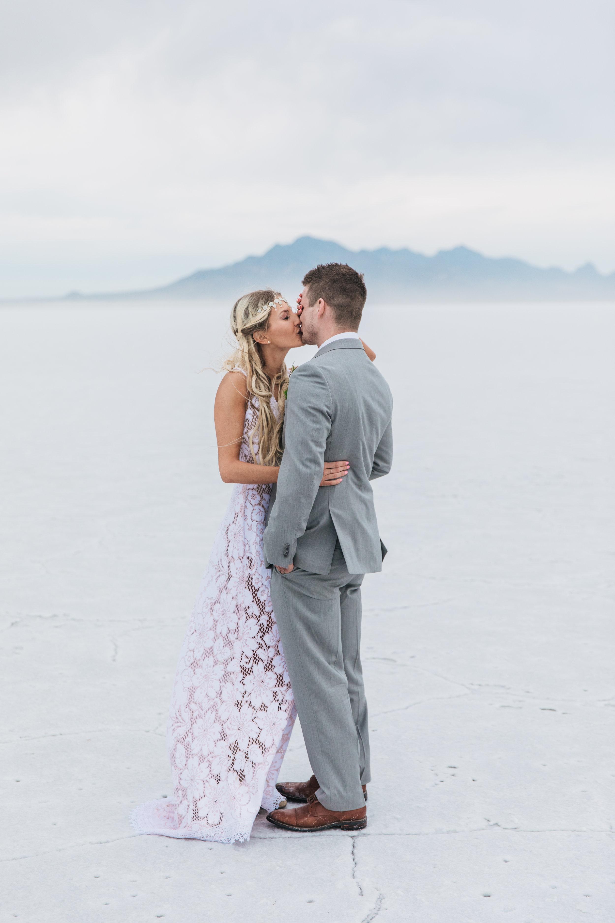 Fine art adventure wedding photographers Bonneville Salt Flats