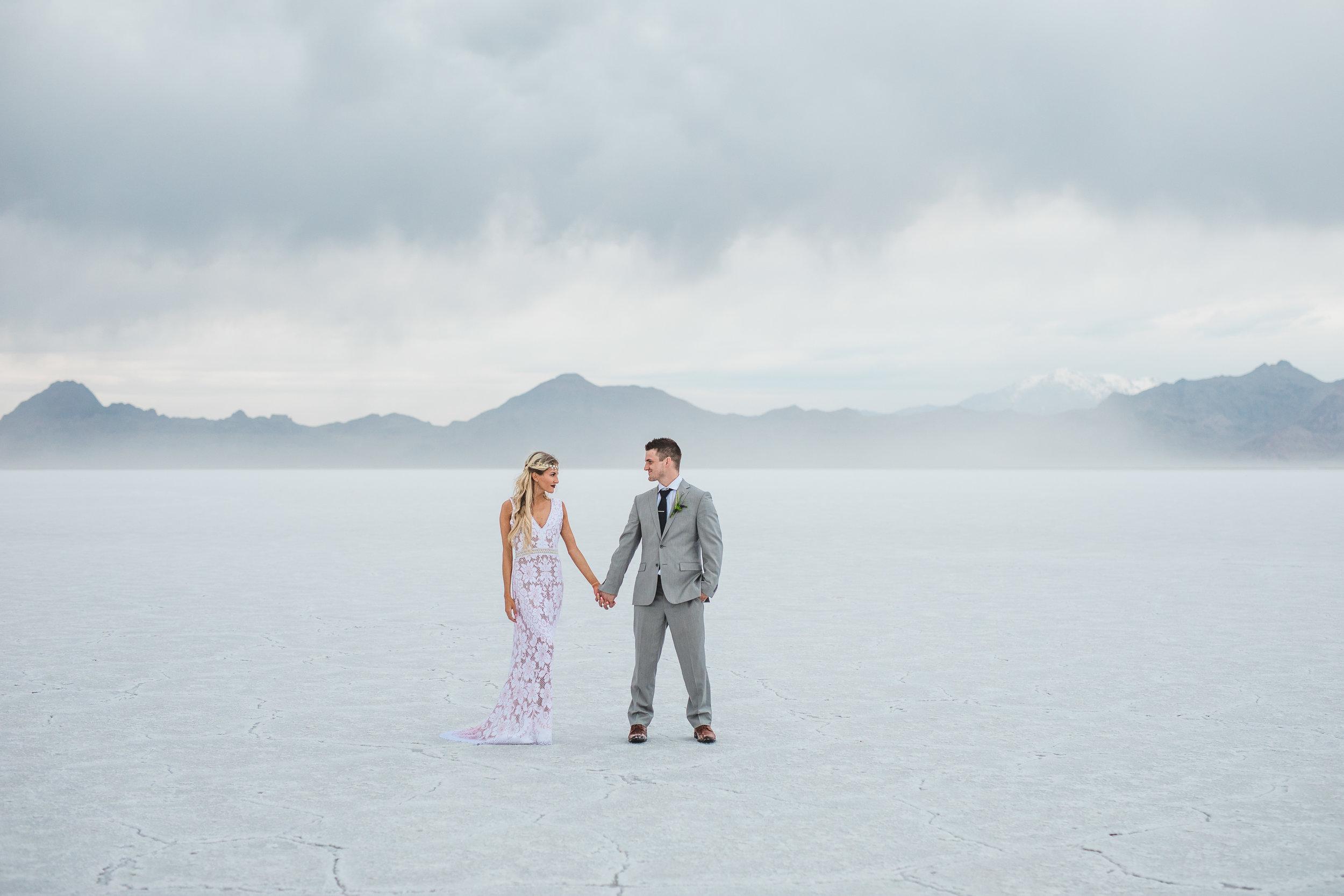 Bonneville Salt Flats adventure destination elopement fine art photographers Kyle Loves Tori