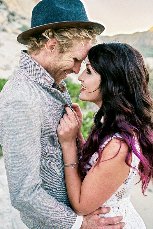 Bohemian wedding couple desert elopement southern utah Kyle and Tori Sheppard film photography