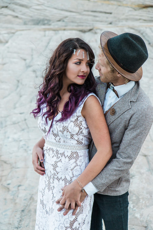 Two guys bow ties wooden groom accents Saldana Vintage boho wedding dress