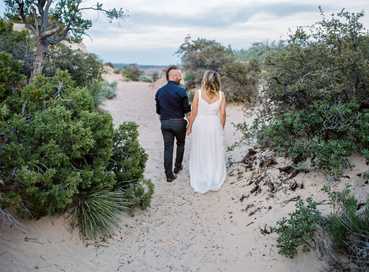 Fine art film St George Utah Wedding Photographers vow renewal in the desert