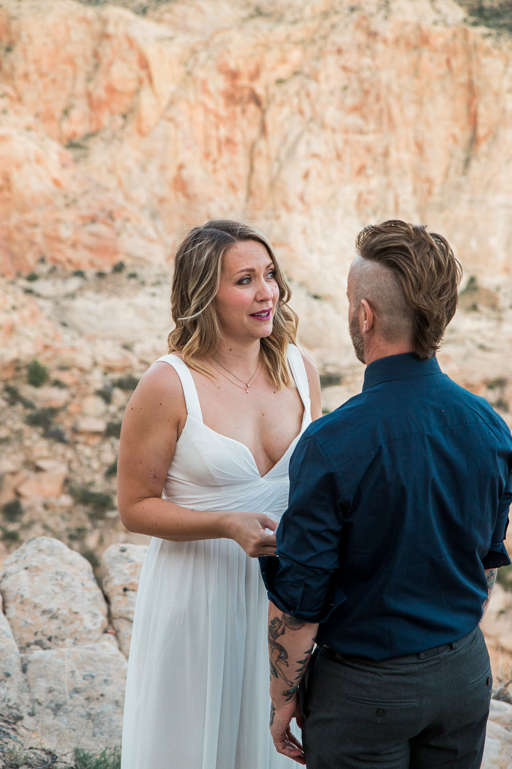 Emotional vow exchange Red mountain overlook Saint George Utah