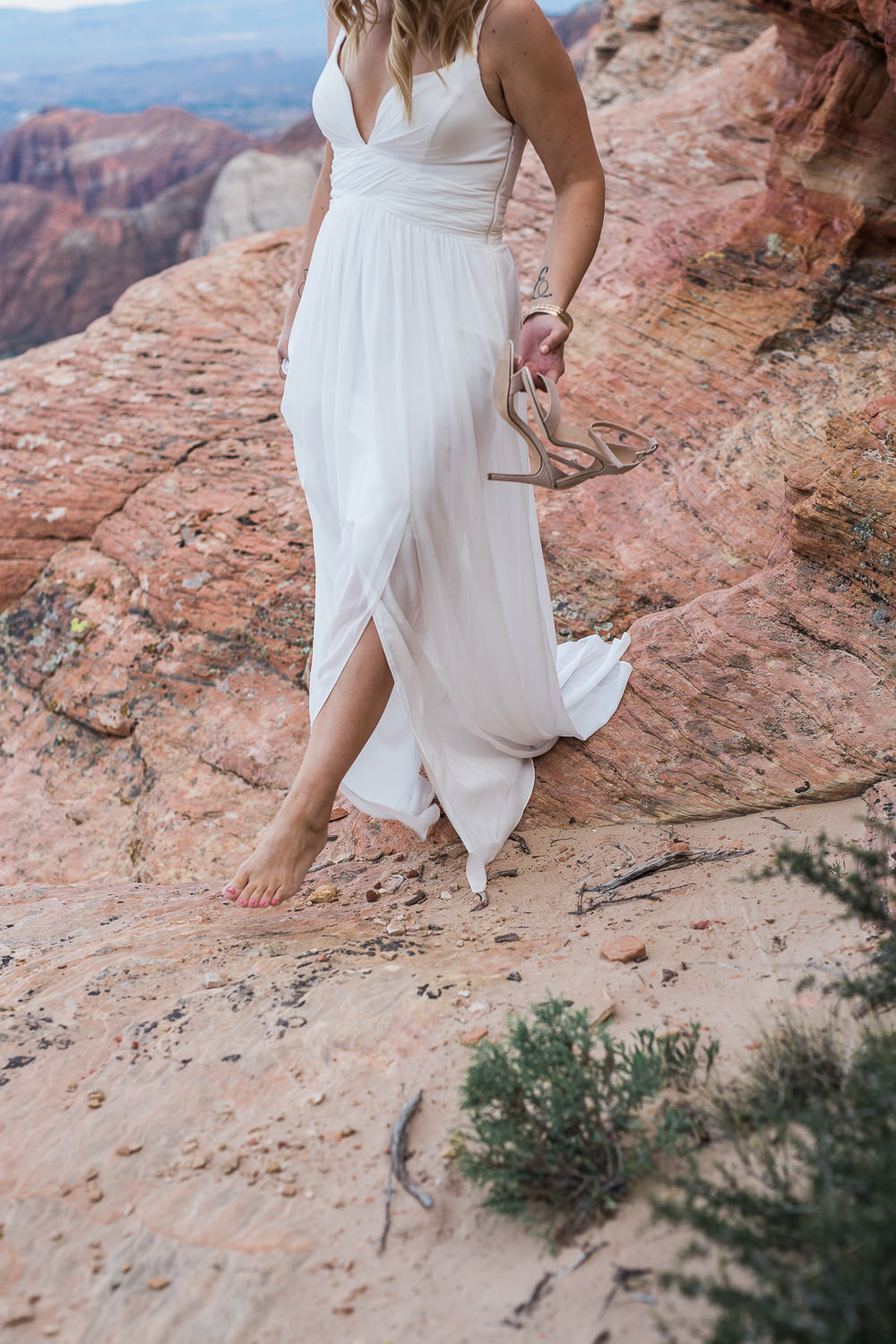 Beautiful dress for desert vow renewal St George Utah Photographers
