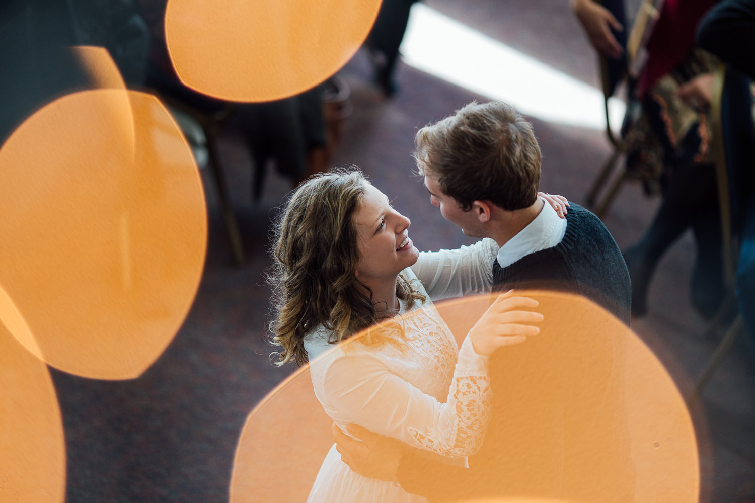 Bride and groom dance during their brunch reception in Pine Valley, Utah