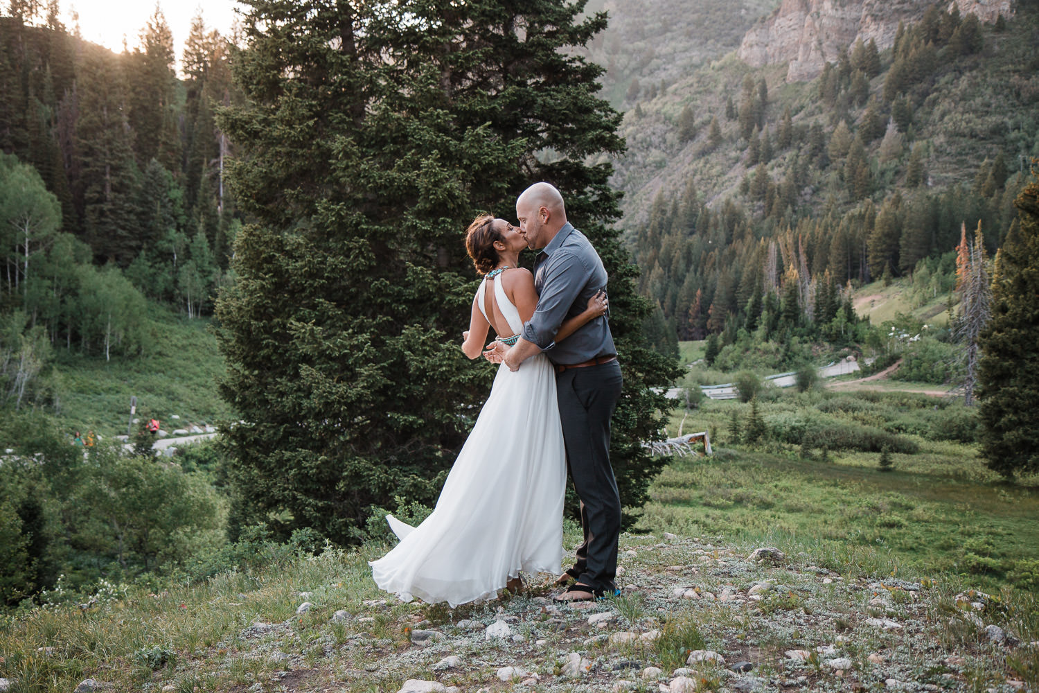 Flowy white dress from Bling it on Dress Rentals Utah county Photographers