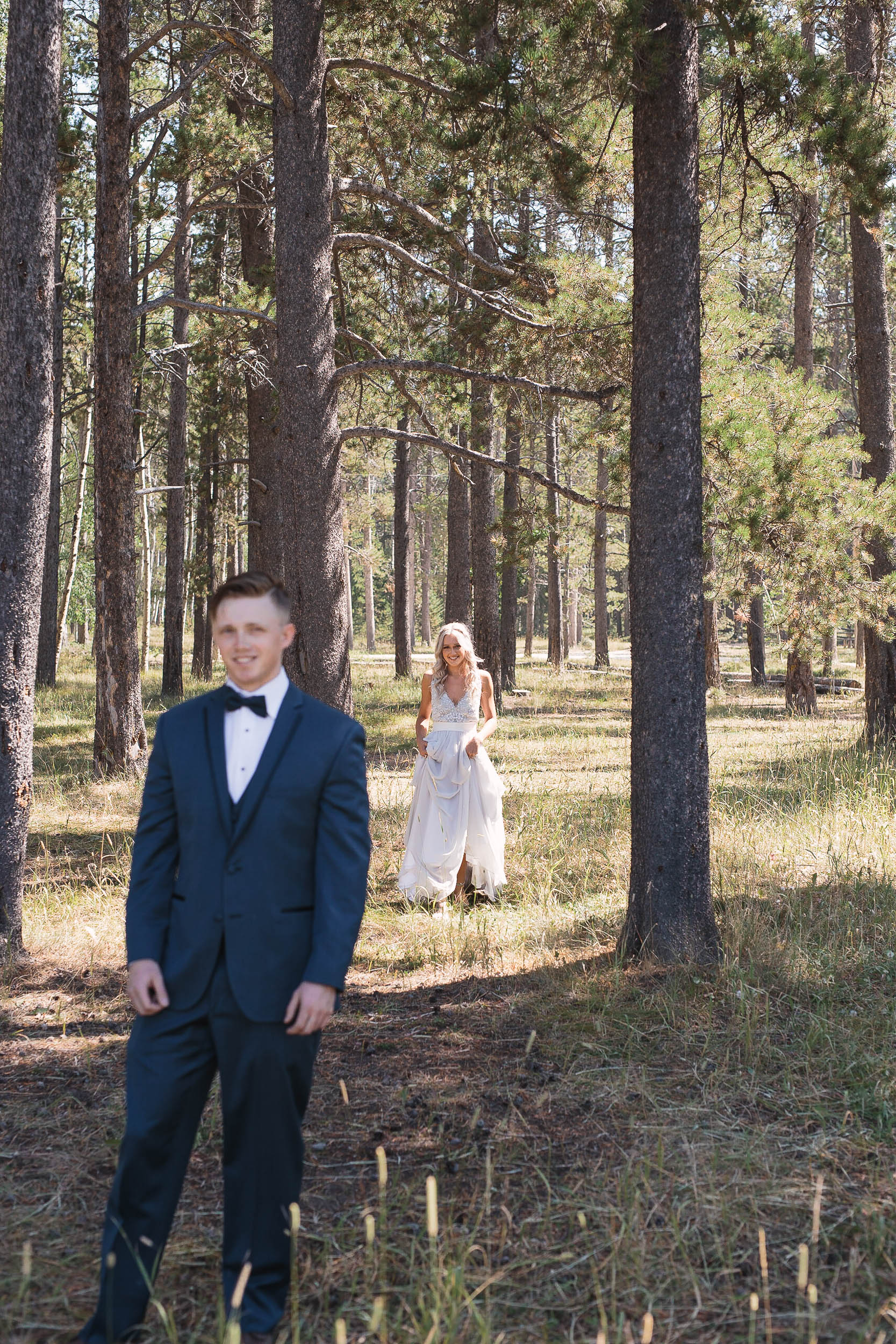 Bride and groom first look on wedding day at Casper Mountain