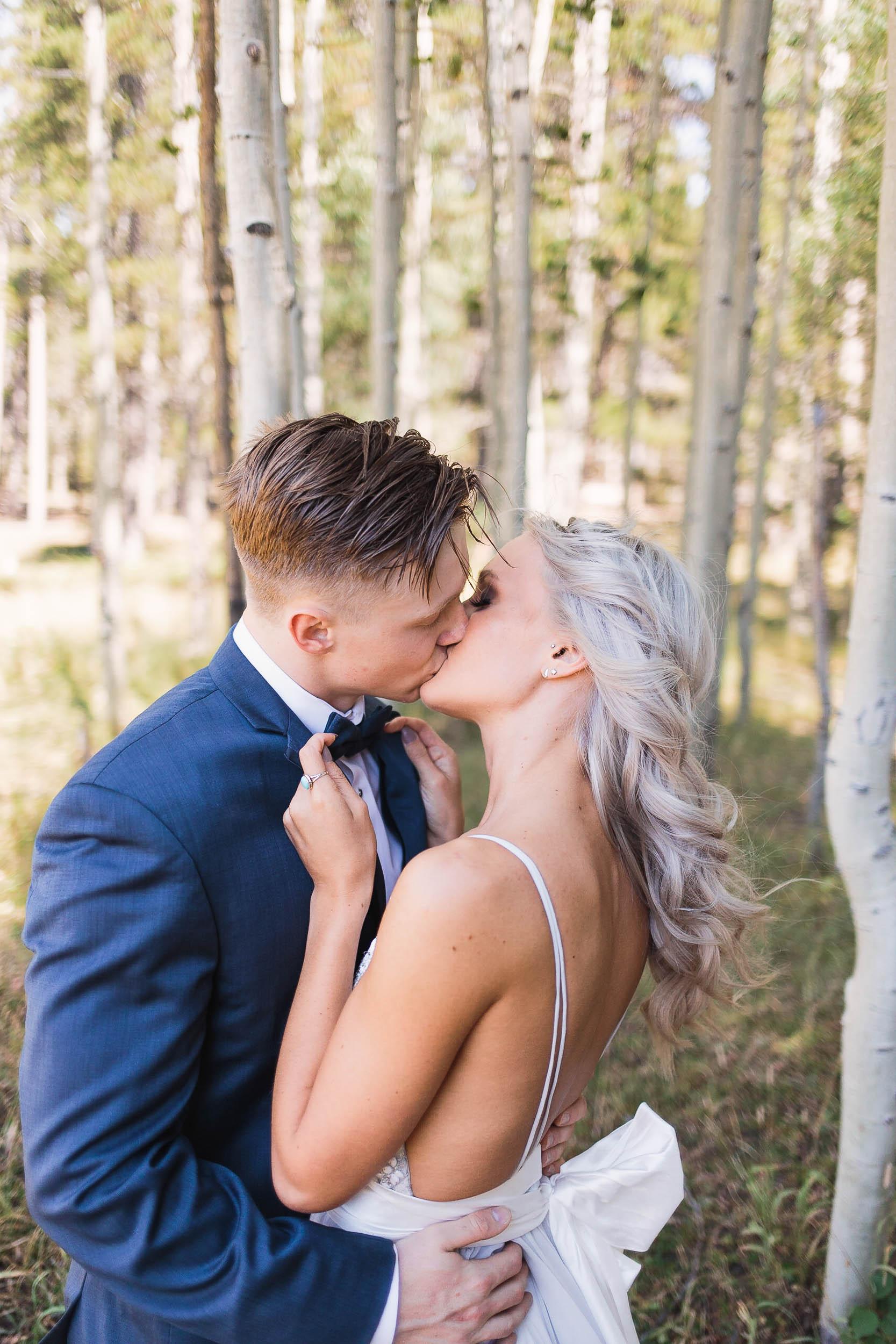 Bride and groom intimate wedding day portraits Casper Wyoming