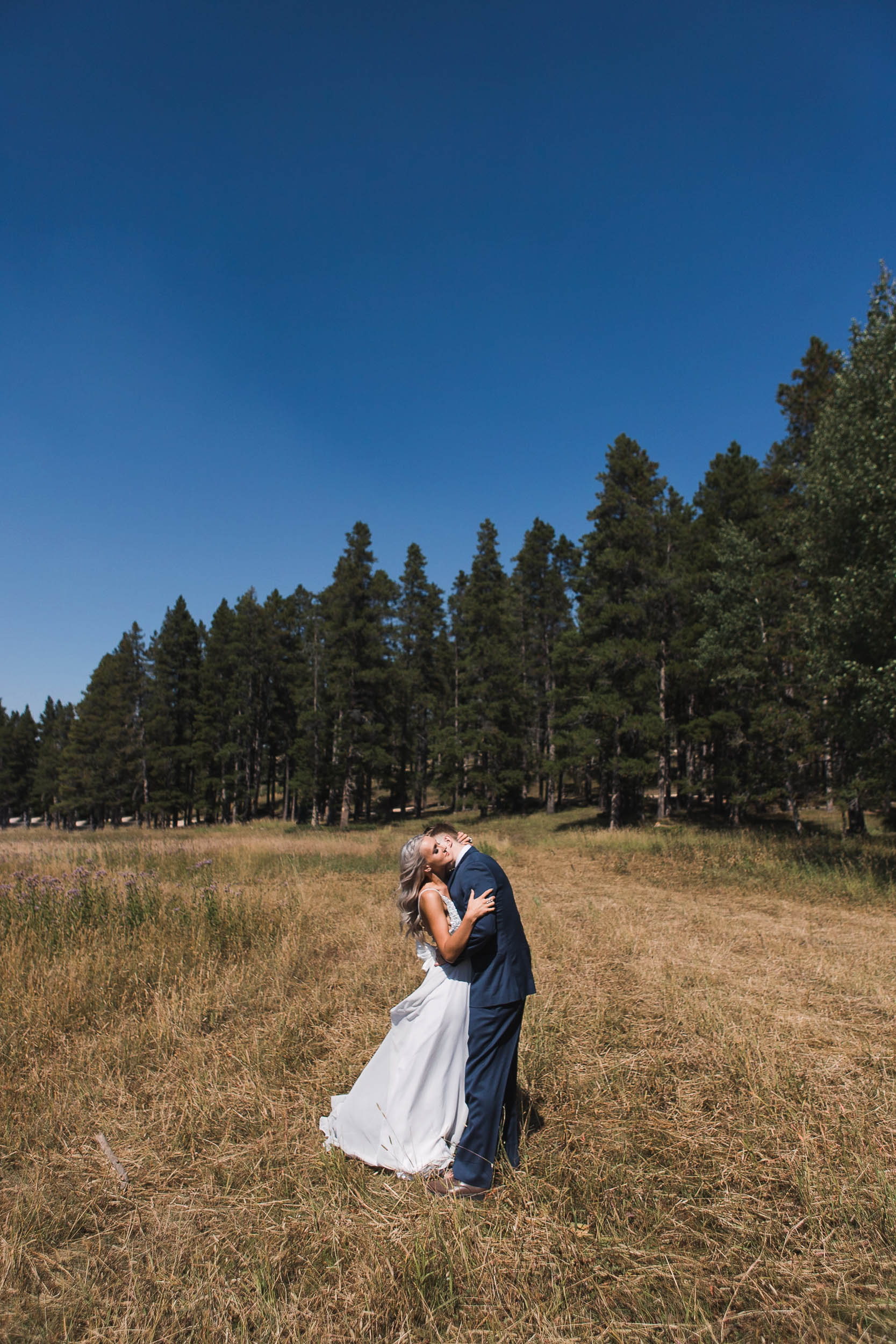 Wedding day portraits at high noon