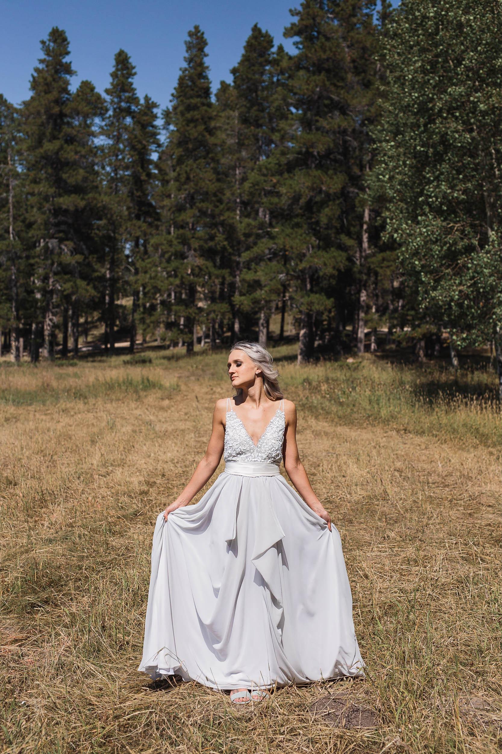 A and Be Bridal Shop Dress wedding portraits at high noon