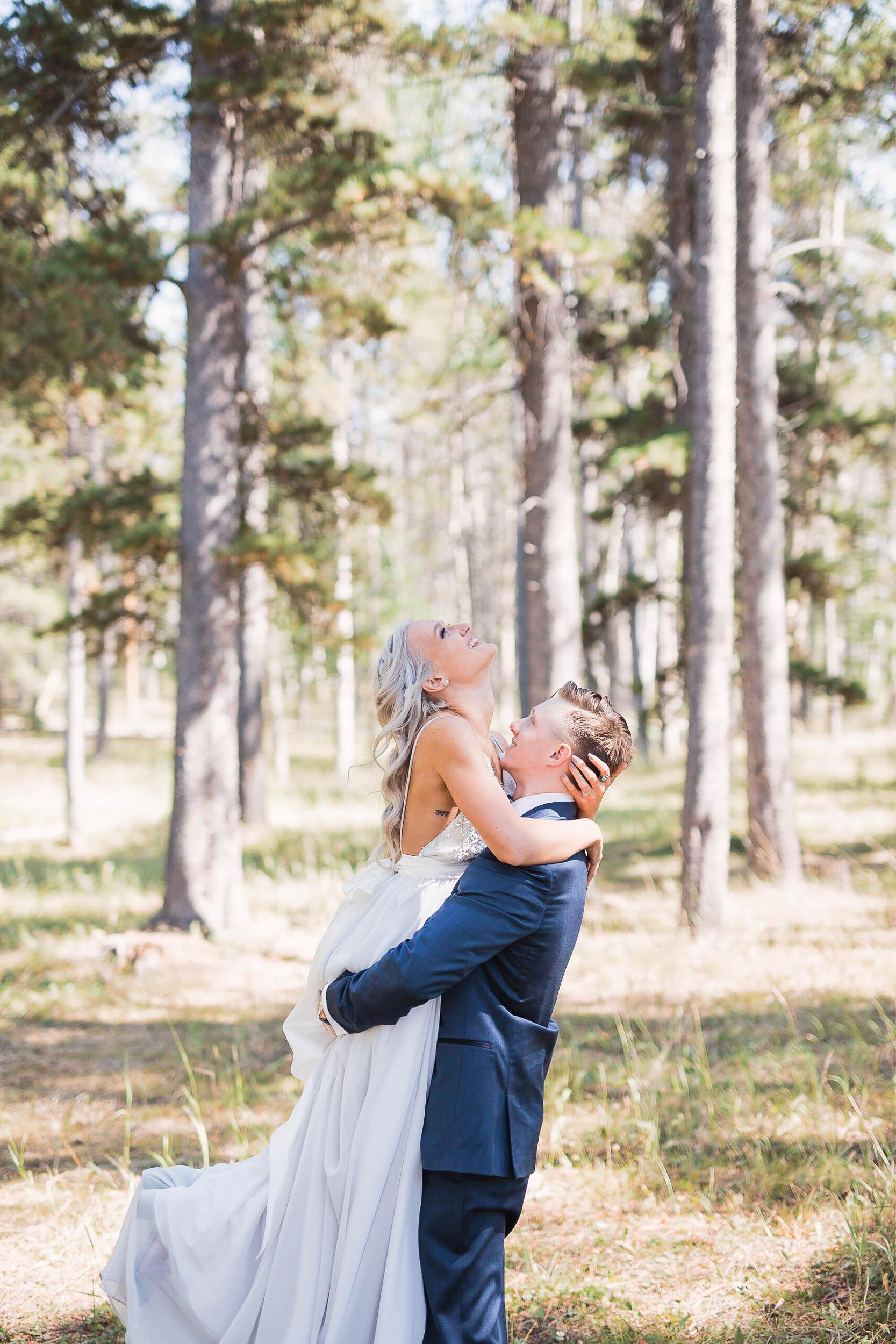 Happy bride and groom portraits wyoming wedding