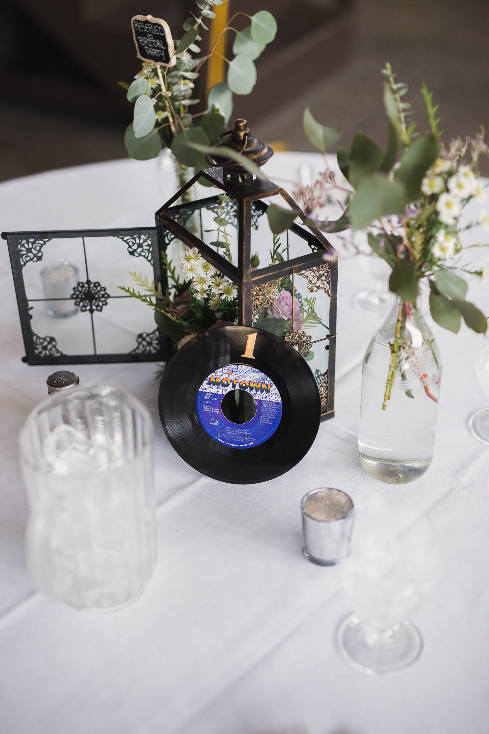 Succulent and Vinyl Record Table Centerpiece Wedding Detail