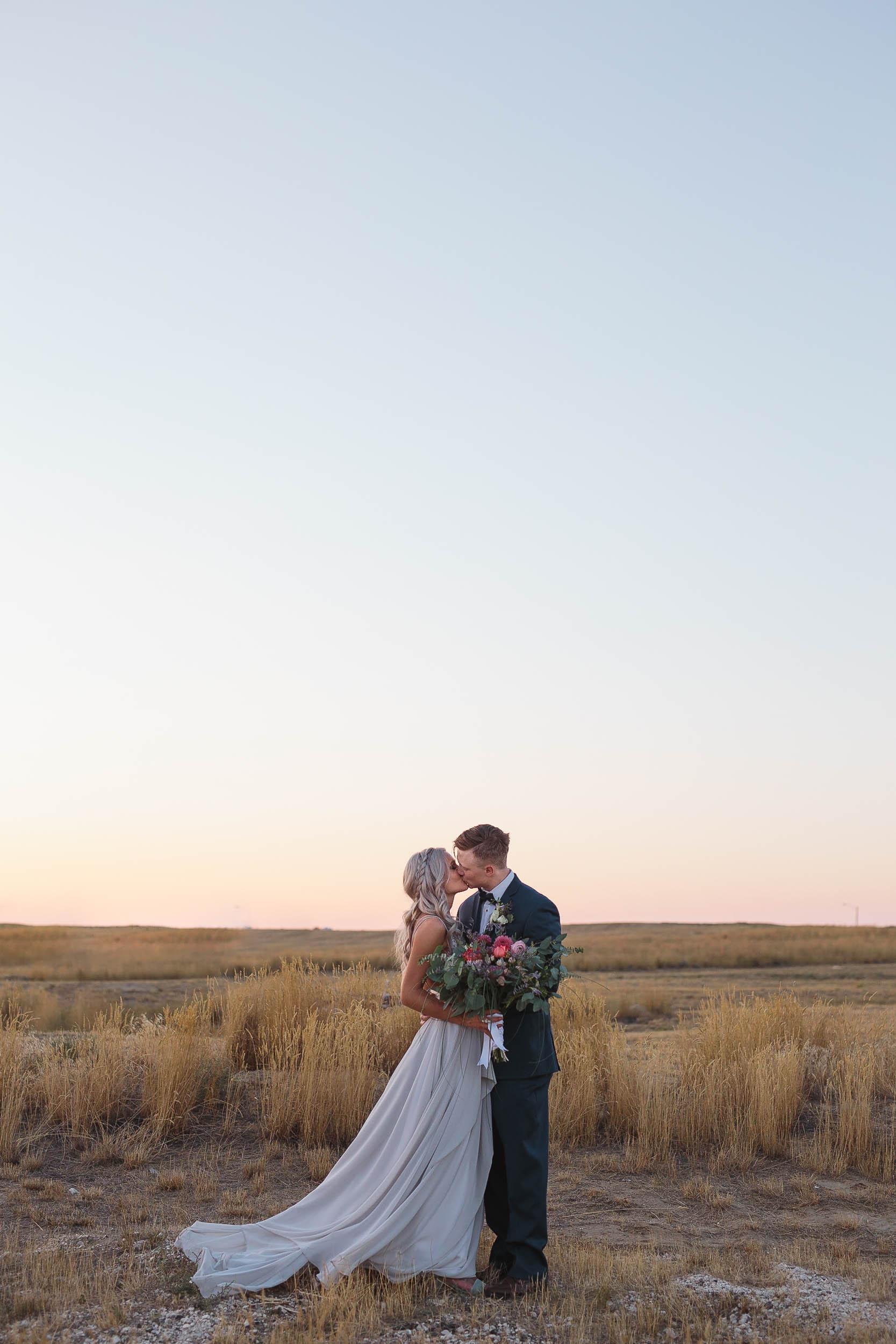Wyoming plains at dusk wedding portrait