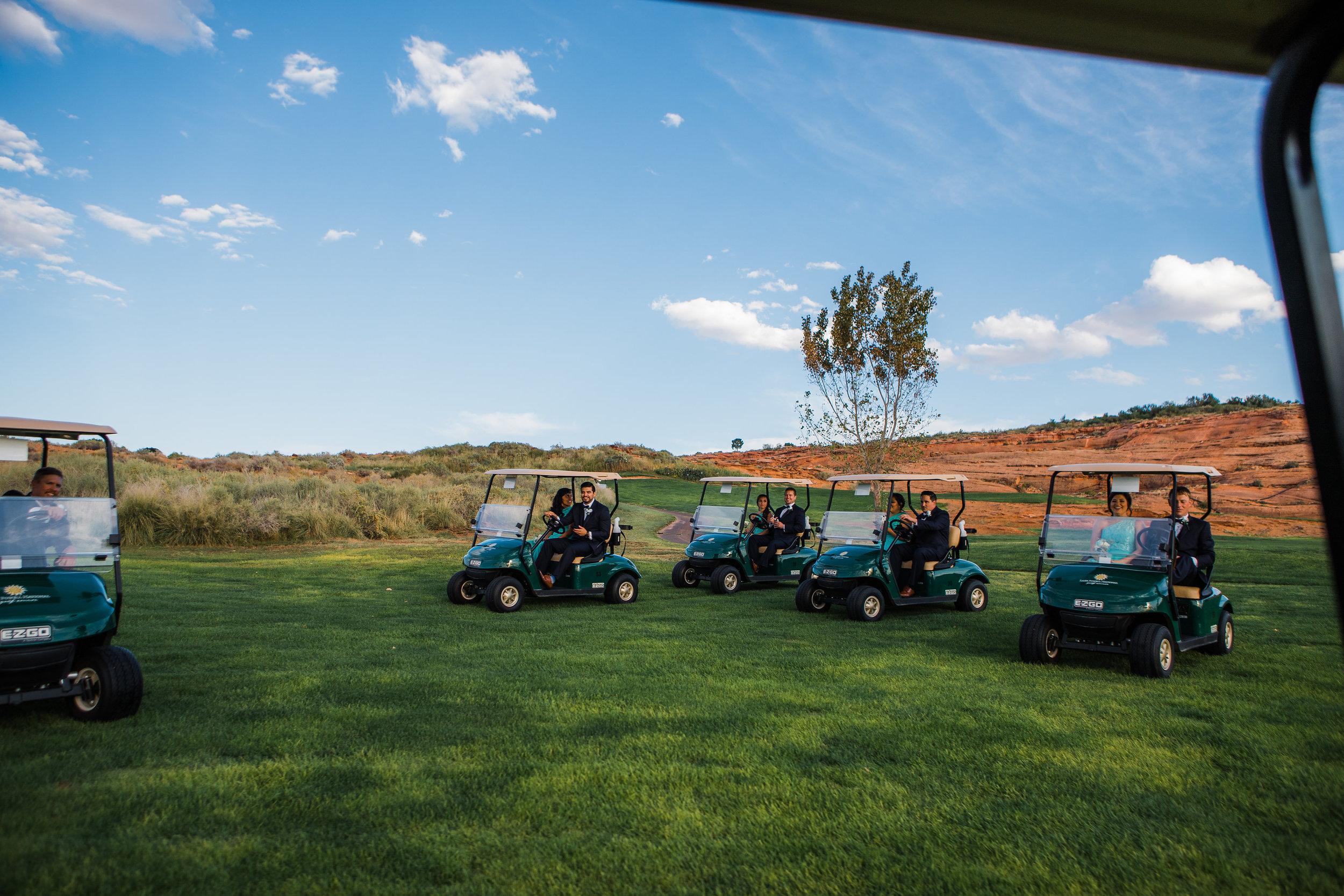 Wedding Party Golf Cart Ride