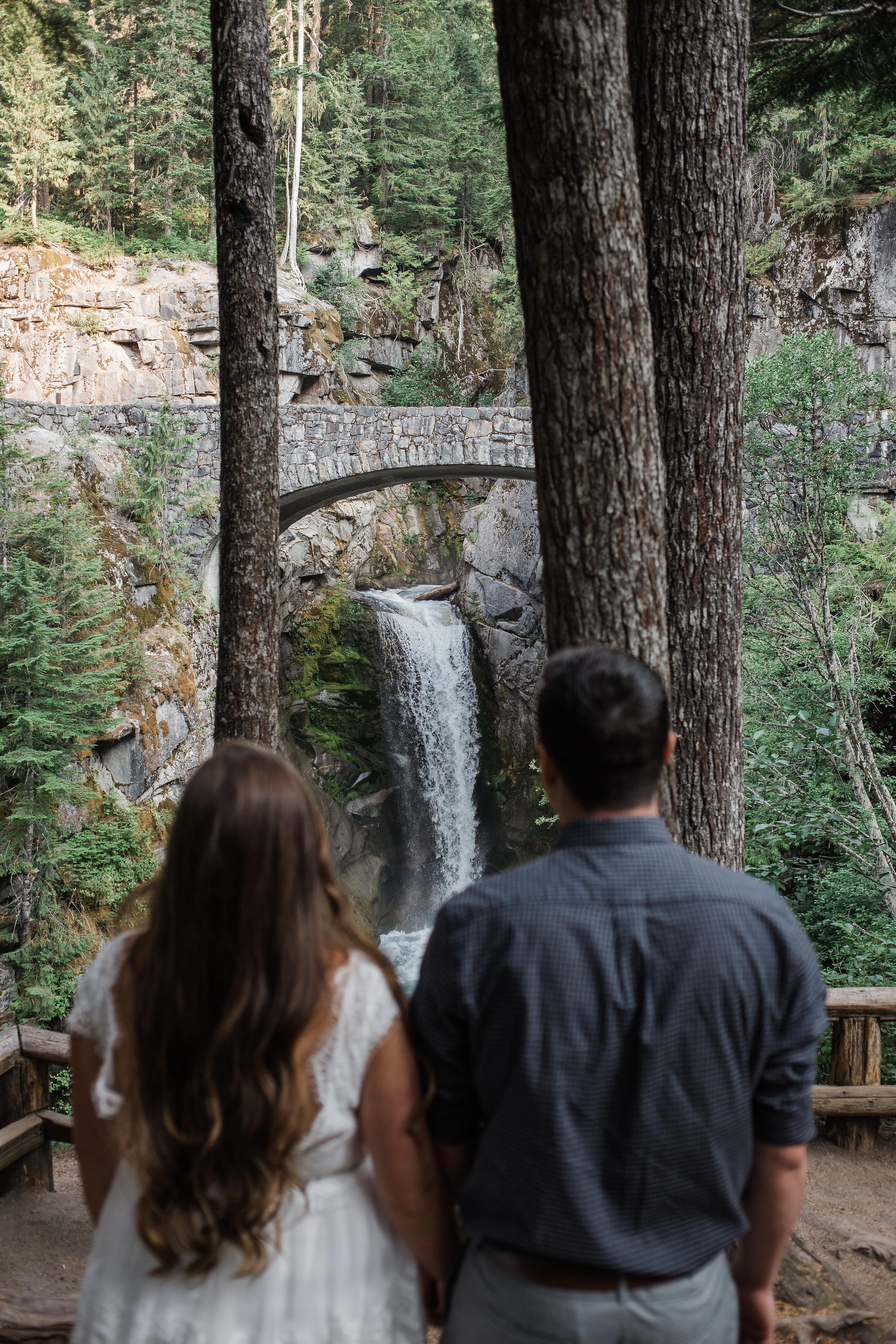 Waterfall Bride Groom Portrait Mountains