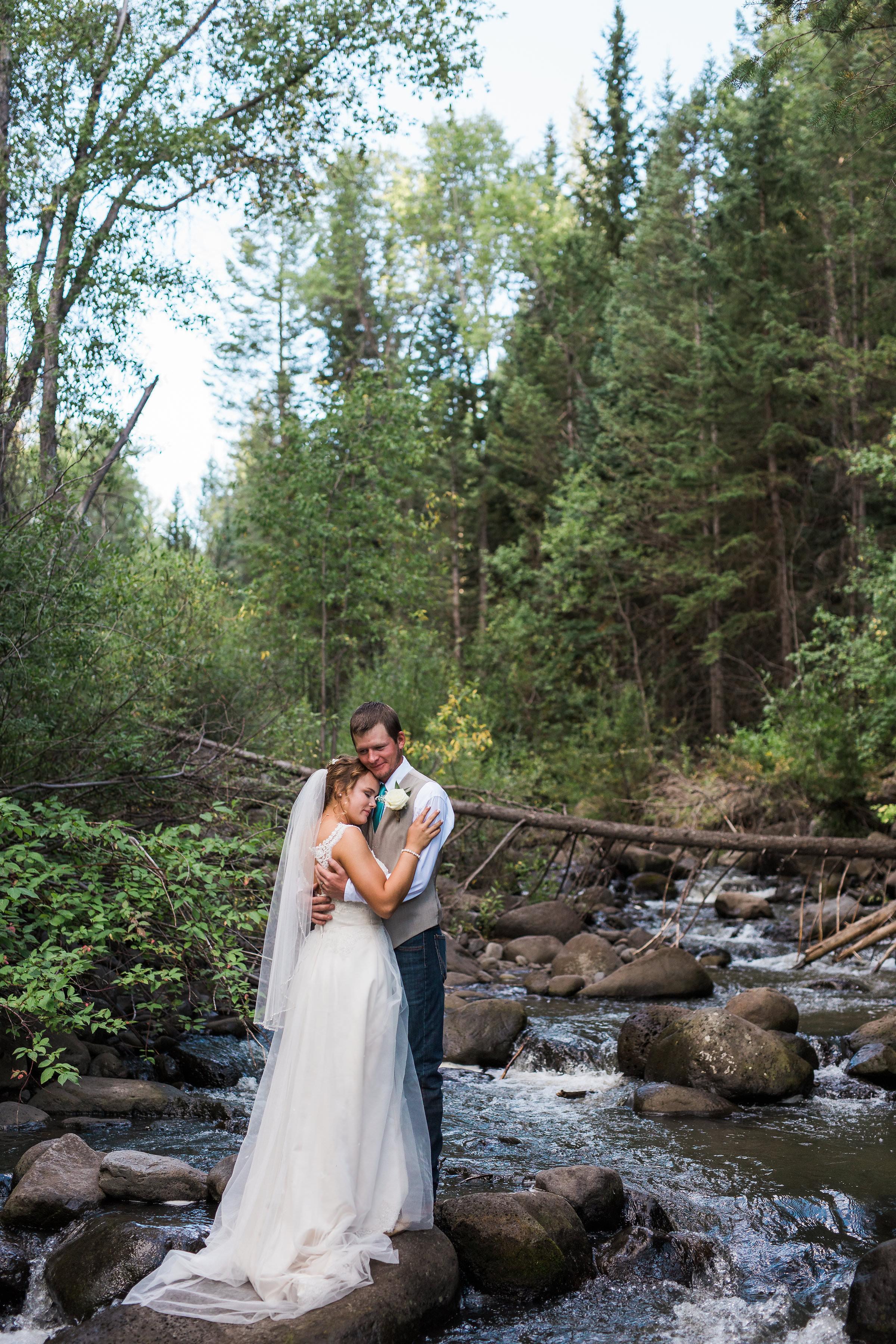Colorado Mountain River Bride Groom Portrait