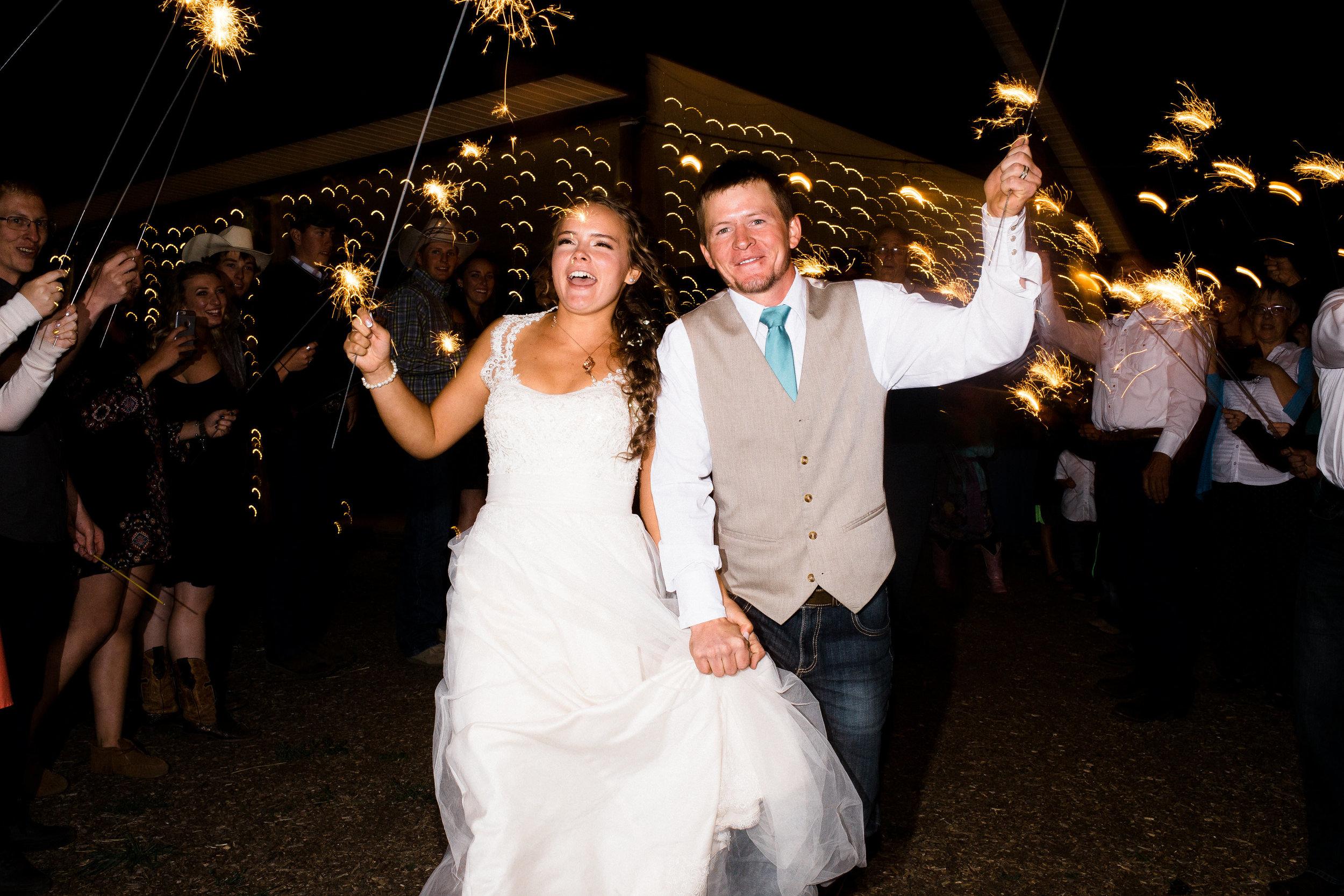 Sparkler Exit Mountain Colorado Wedding